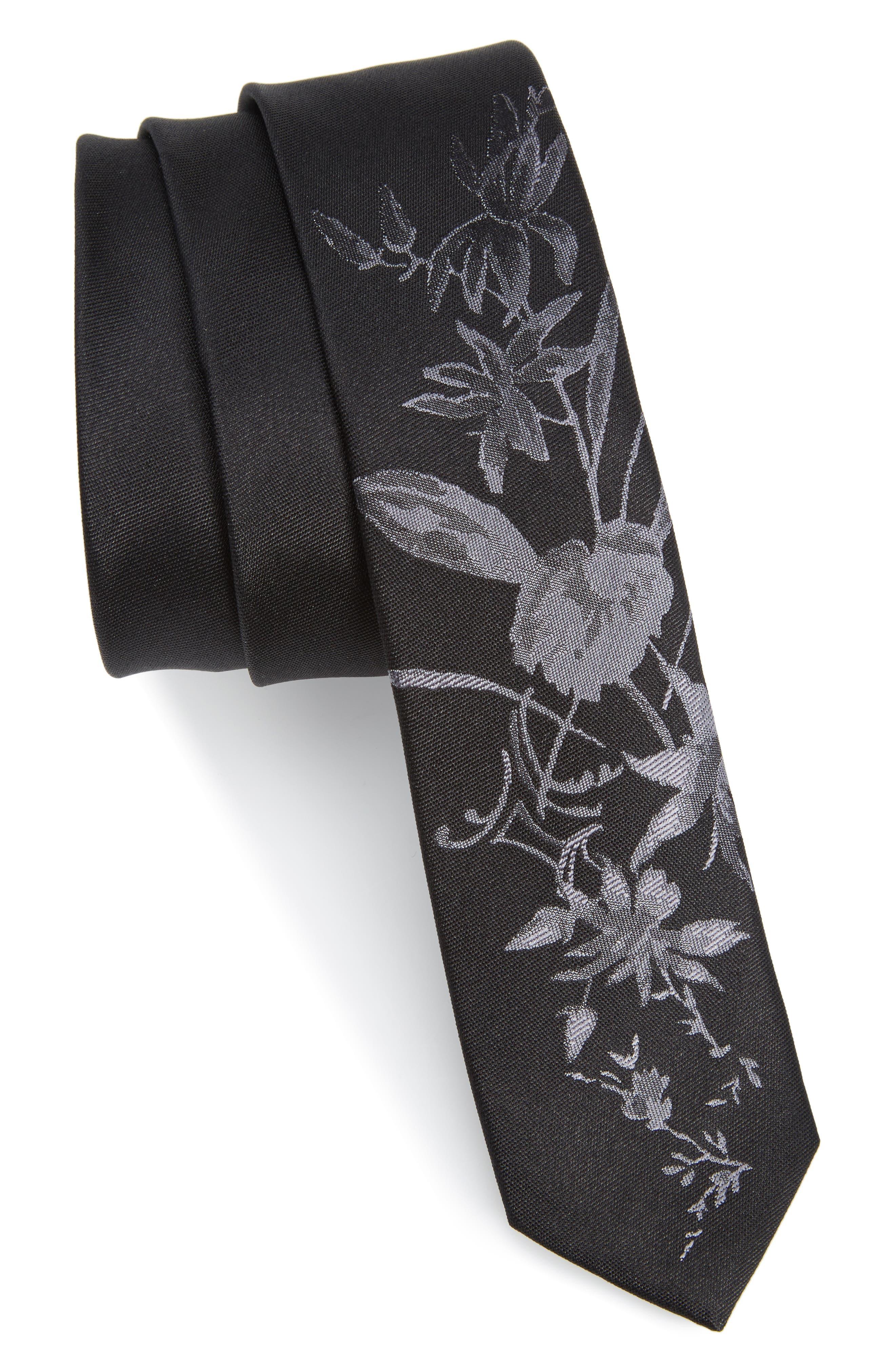 The Kooples Floral Jacquard Silk Skinny Tie