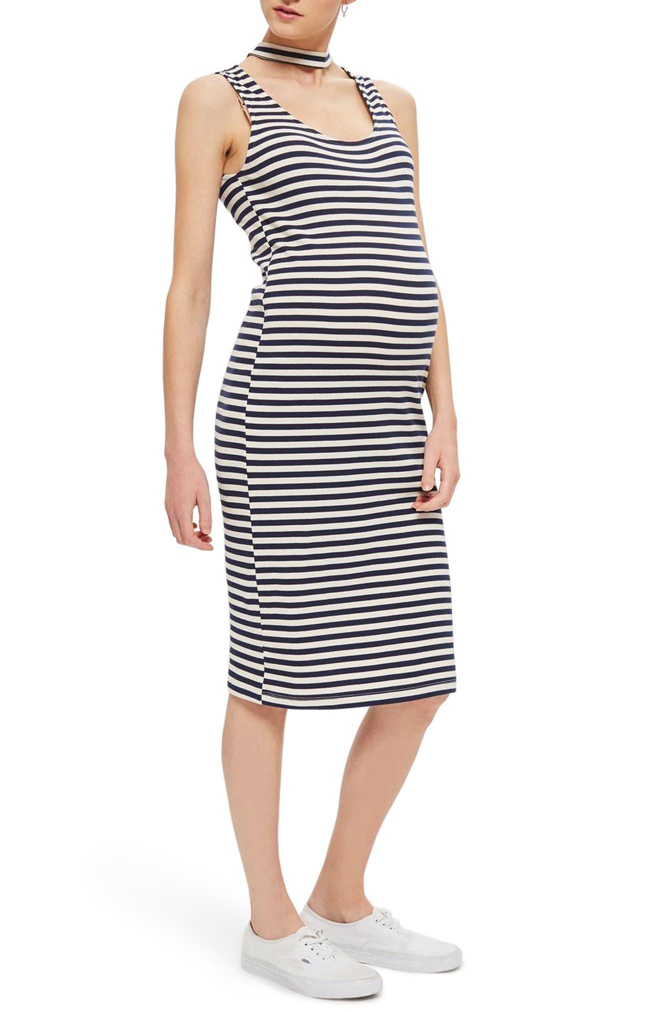 Topshop Stripe Midi Body-Con Maternity Dress