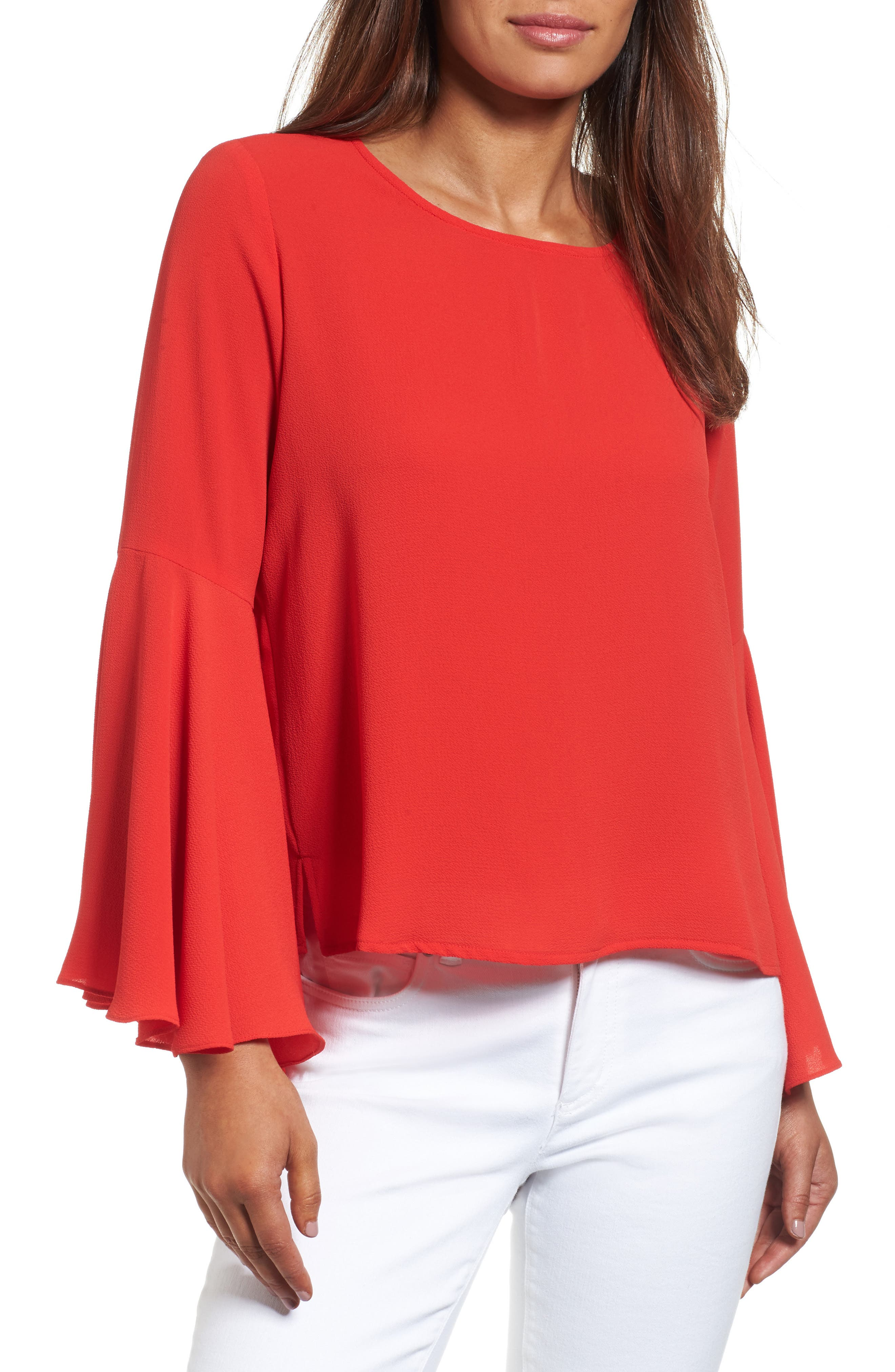 Alternate Image 1 Selected - Vince Camuto Bell Sleeve Blouse (Regular & Petite)