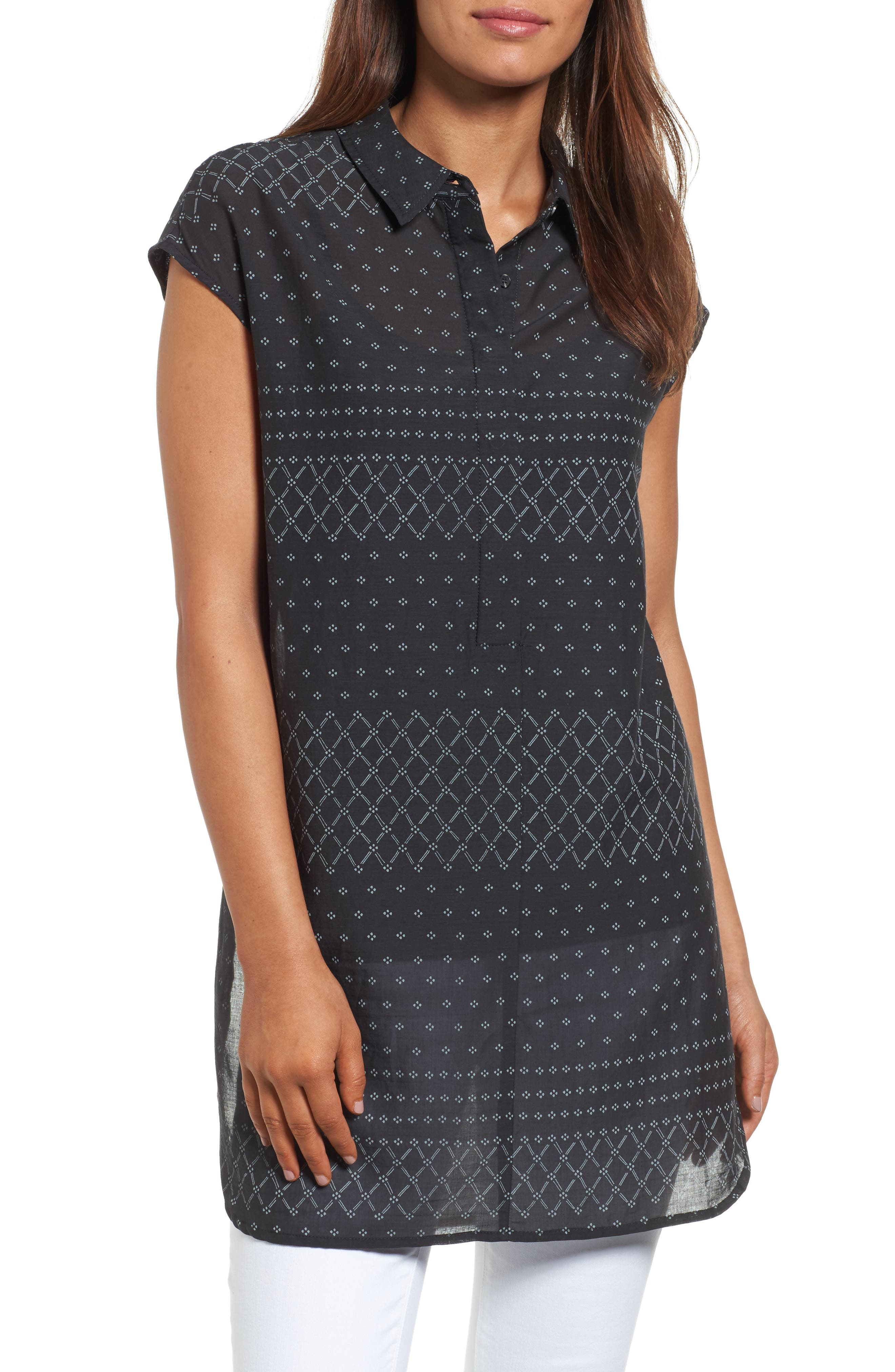 Two by Vince Camuto Delicate Dabs High/Low Tunic