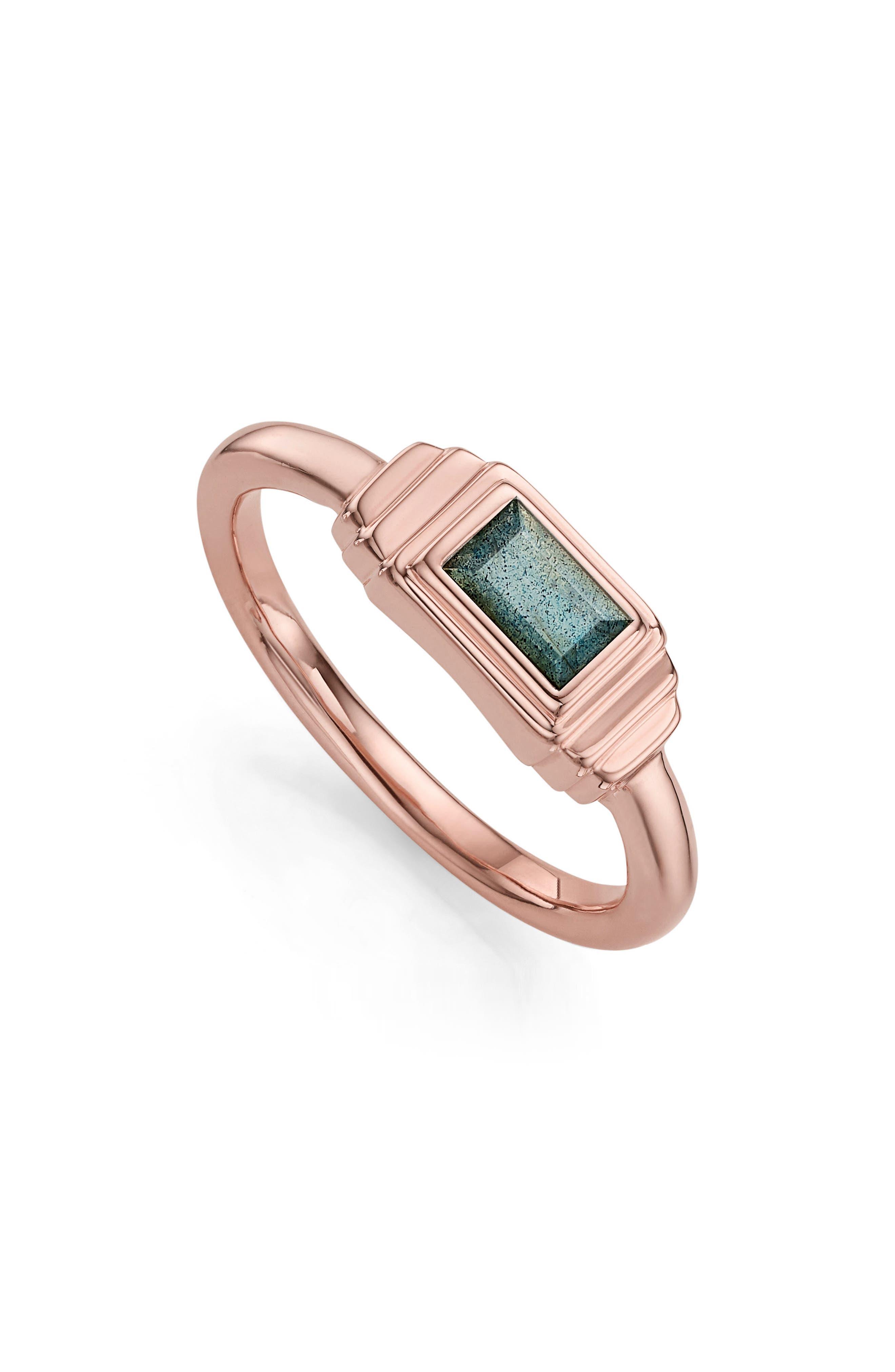 Monica Vinader Baja Deco Semiprecious Stone Ring