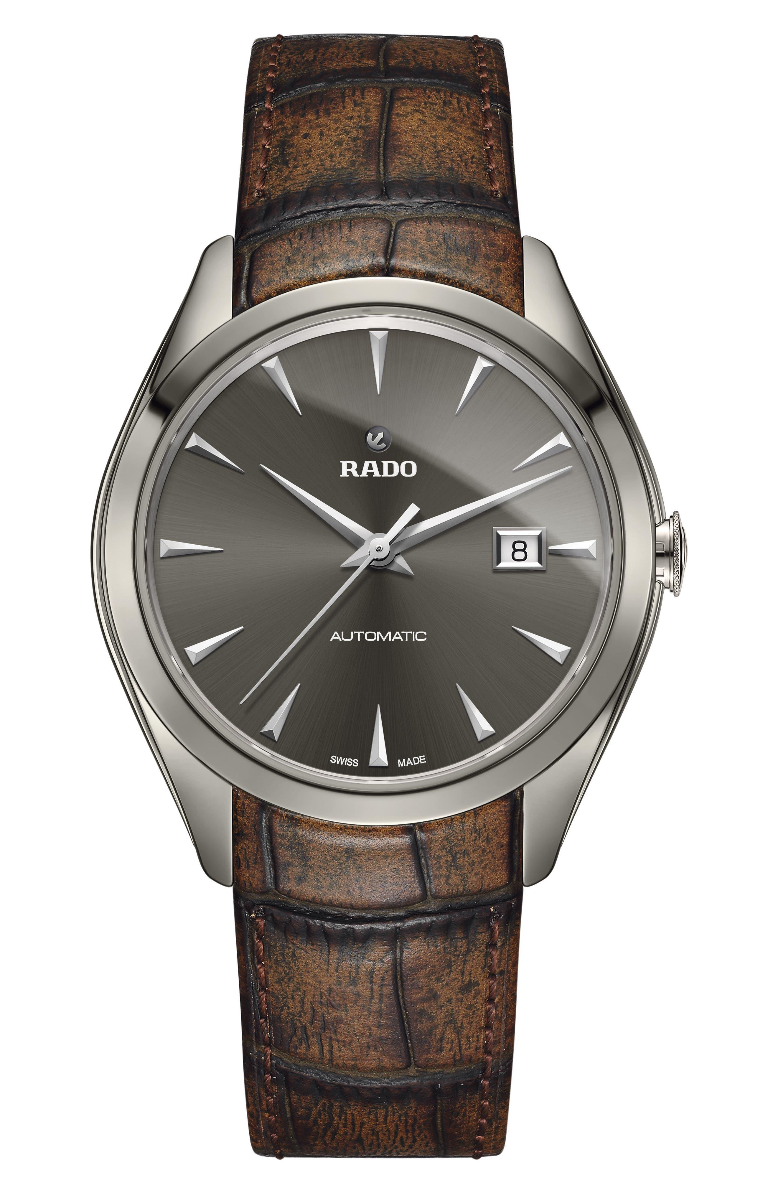 RADO HyperChrome Automatic Leather Strap Watch, 42mm