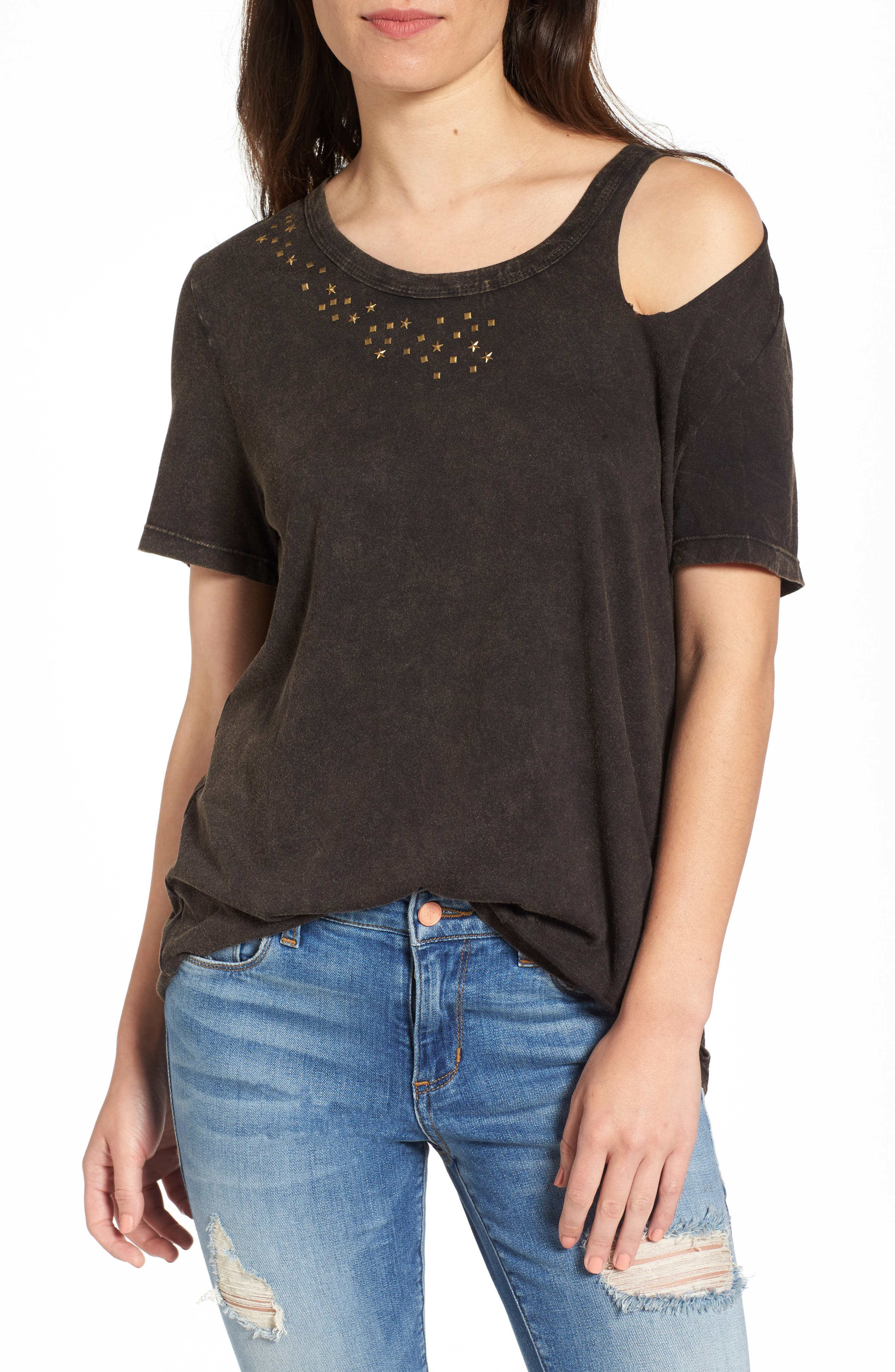 Sun & Shadow Studded Cold Shoulder Tee