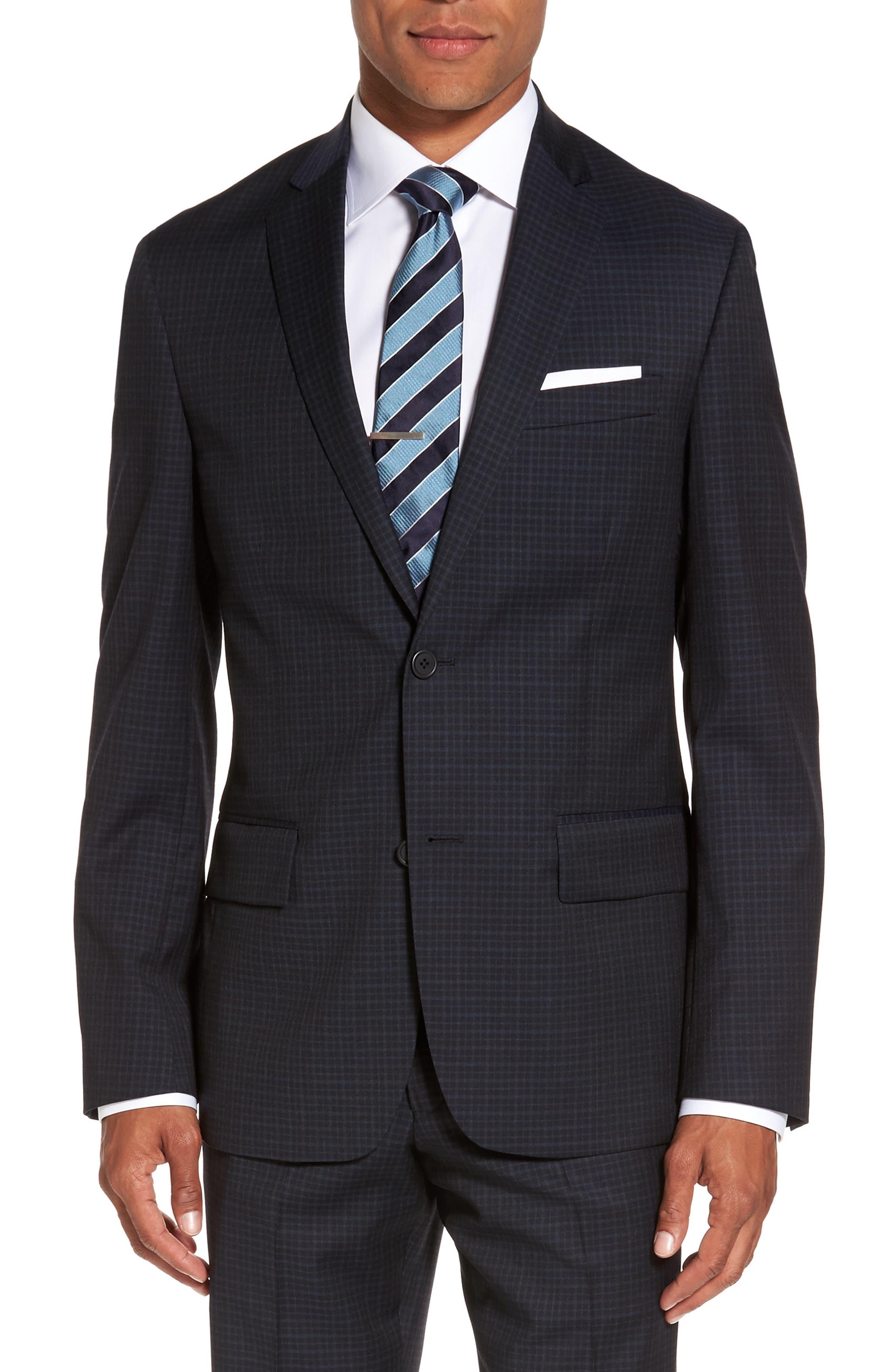 Nordstrom Men's Shop Cross Hatch Wool Sport Coat (Big)