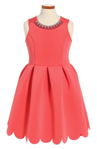 Soprano Scallop Hem Scuba Dress (Little Girls)