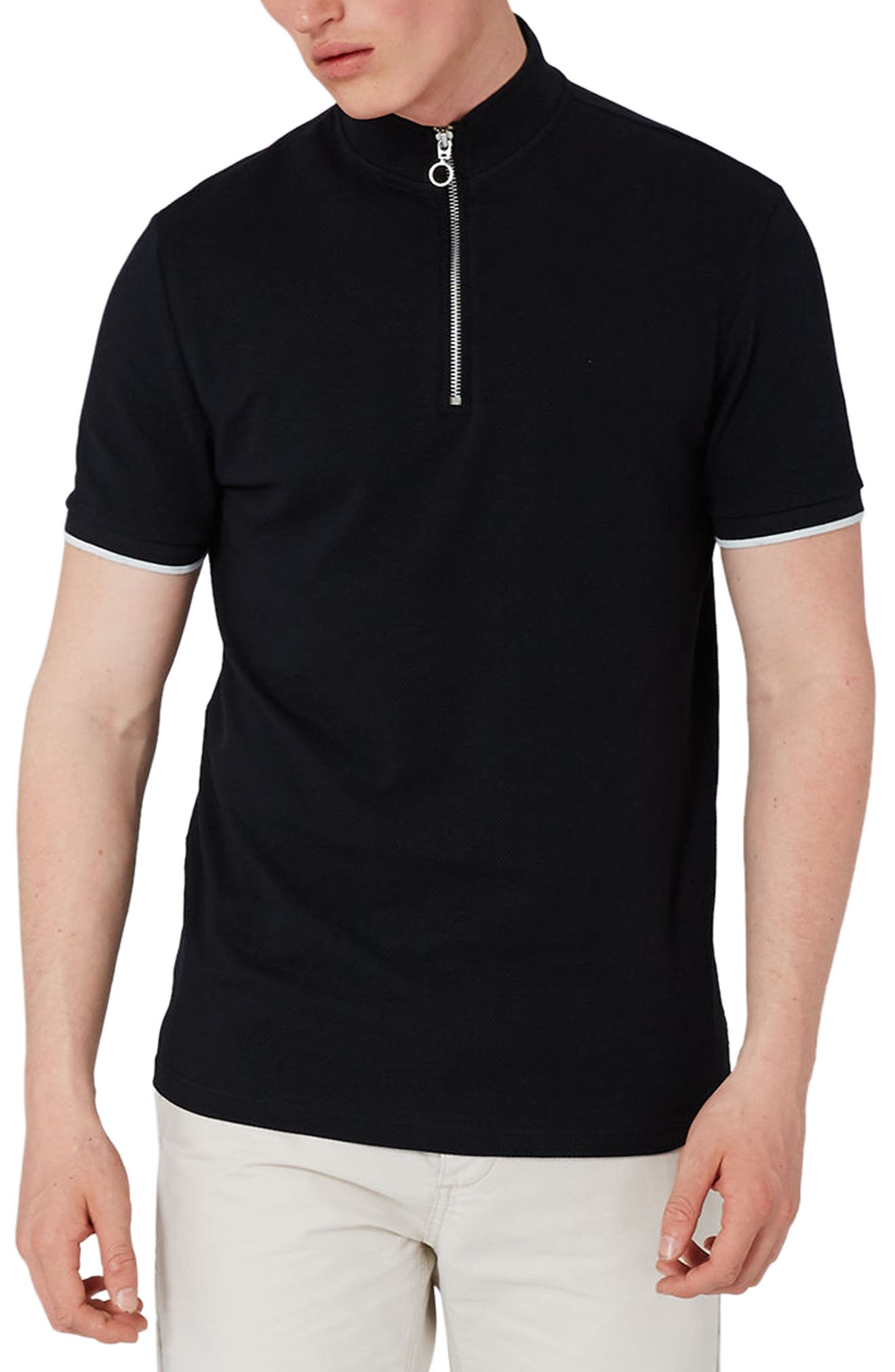 Topman Muscle Fit Quarter Zip Tipped Polo