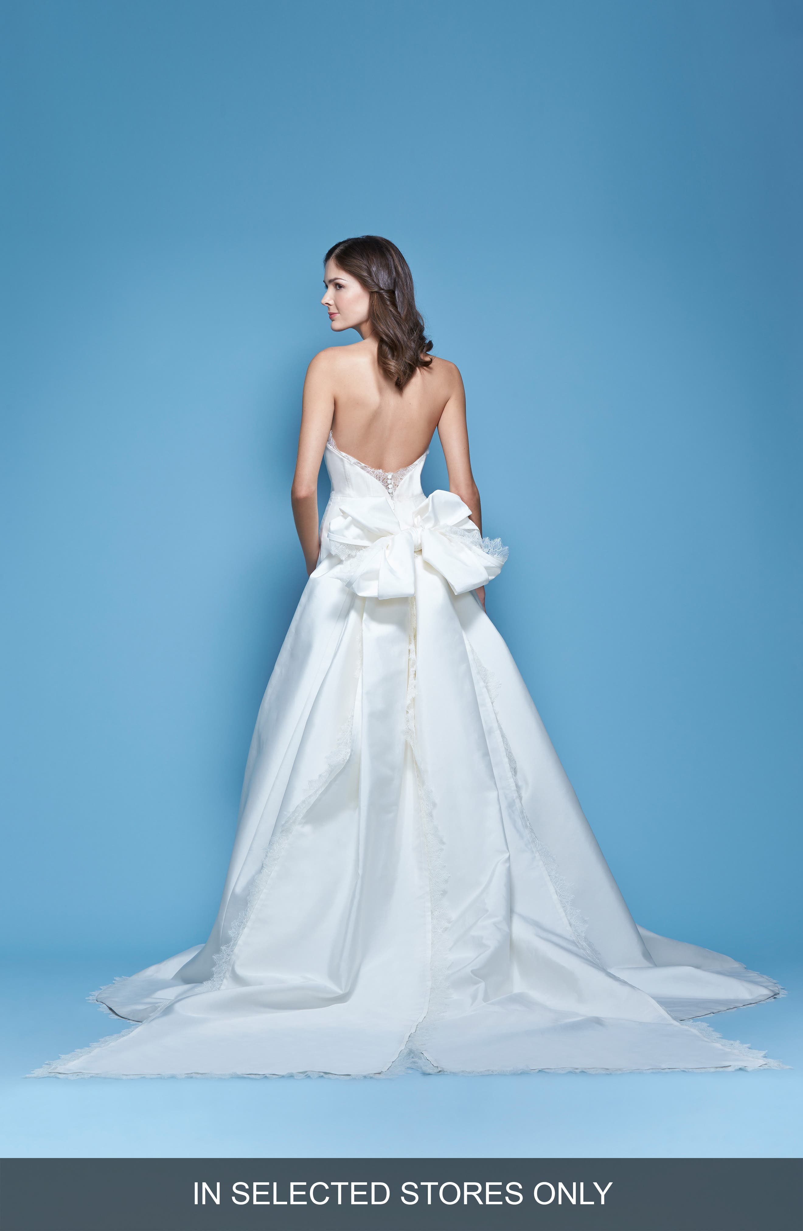 Carolina Herrera 'Jacqueline' Lace Trim Strapless Mikado Column Gown with Detachable Bow Train (In Stores Only)