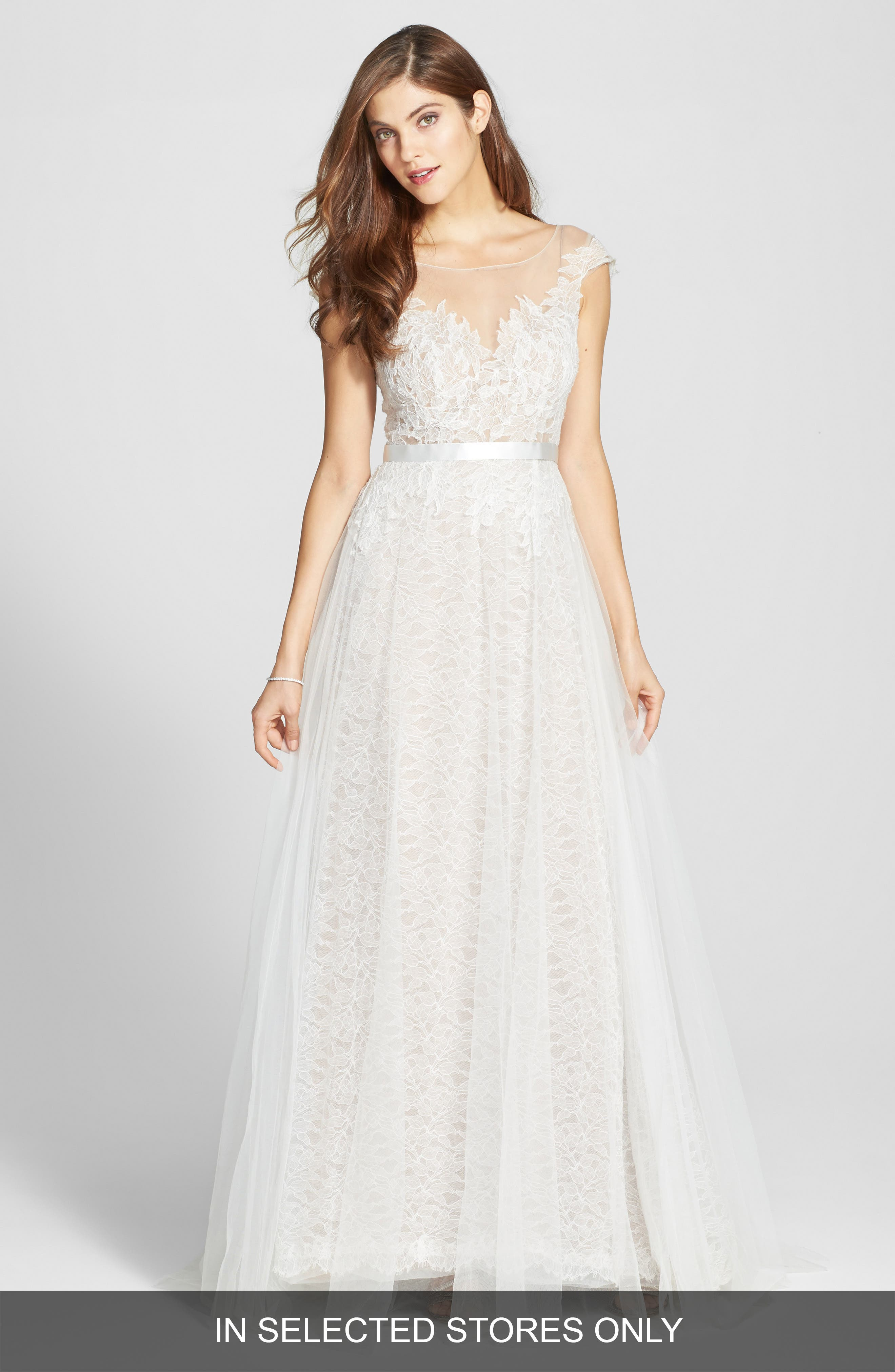 Watters Farah Tulle, Lace & Charmeuse Gown (In Stores Only)