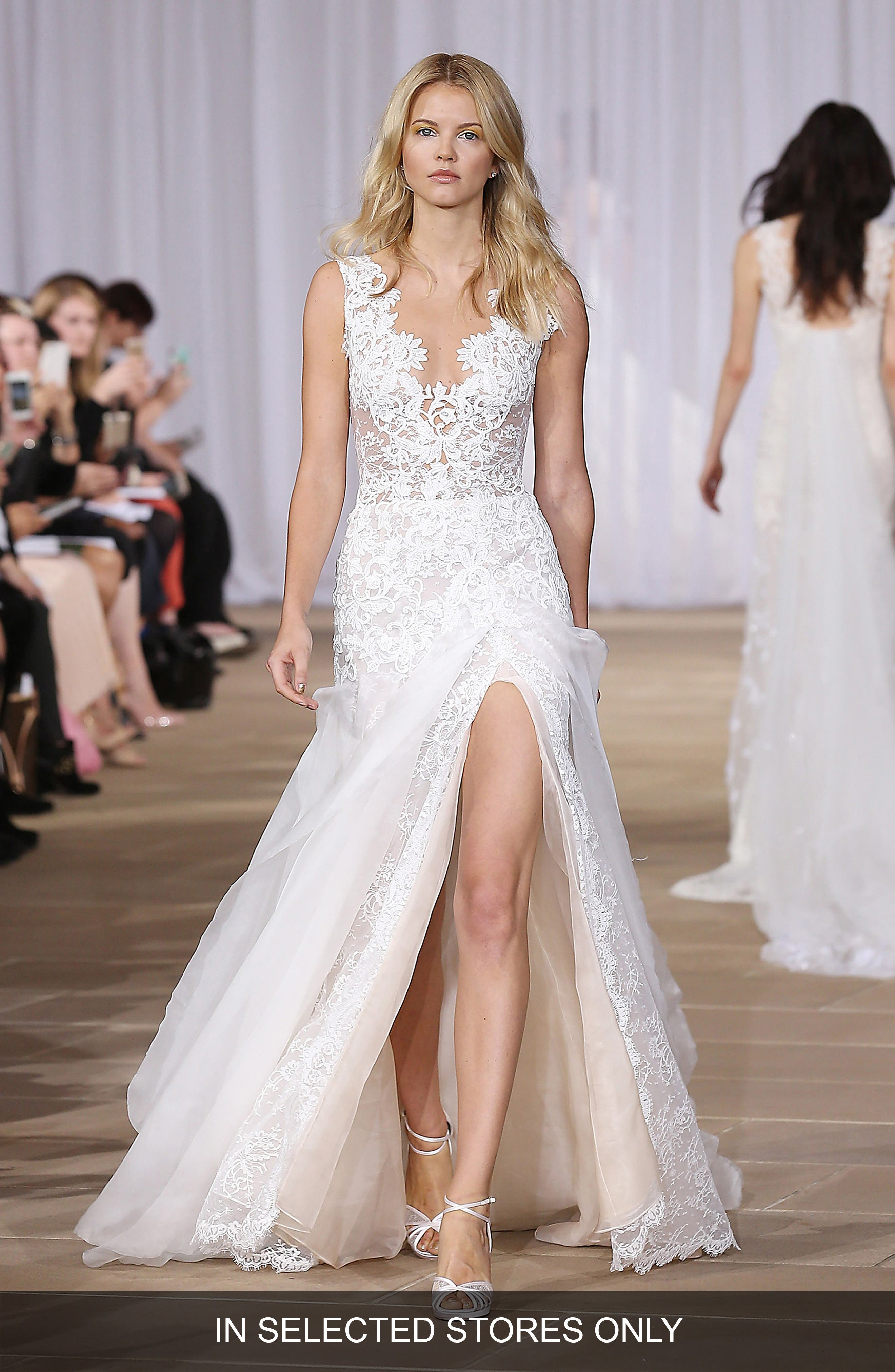 Ines Di Santo 'Morning' Layered Lace & Organza Front Slit Gown (In Stores Only)