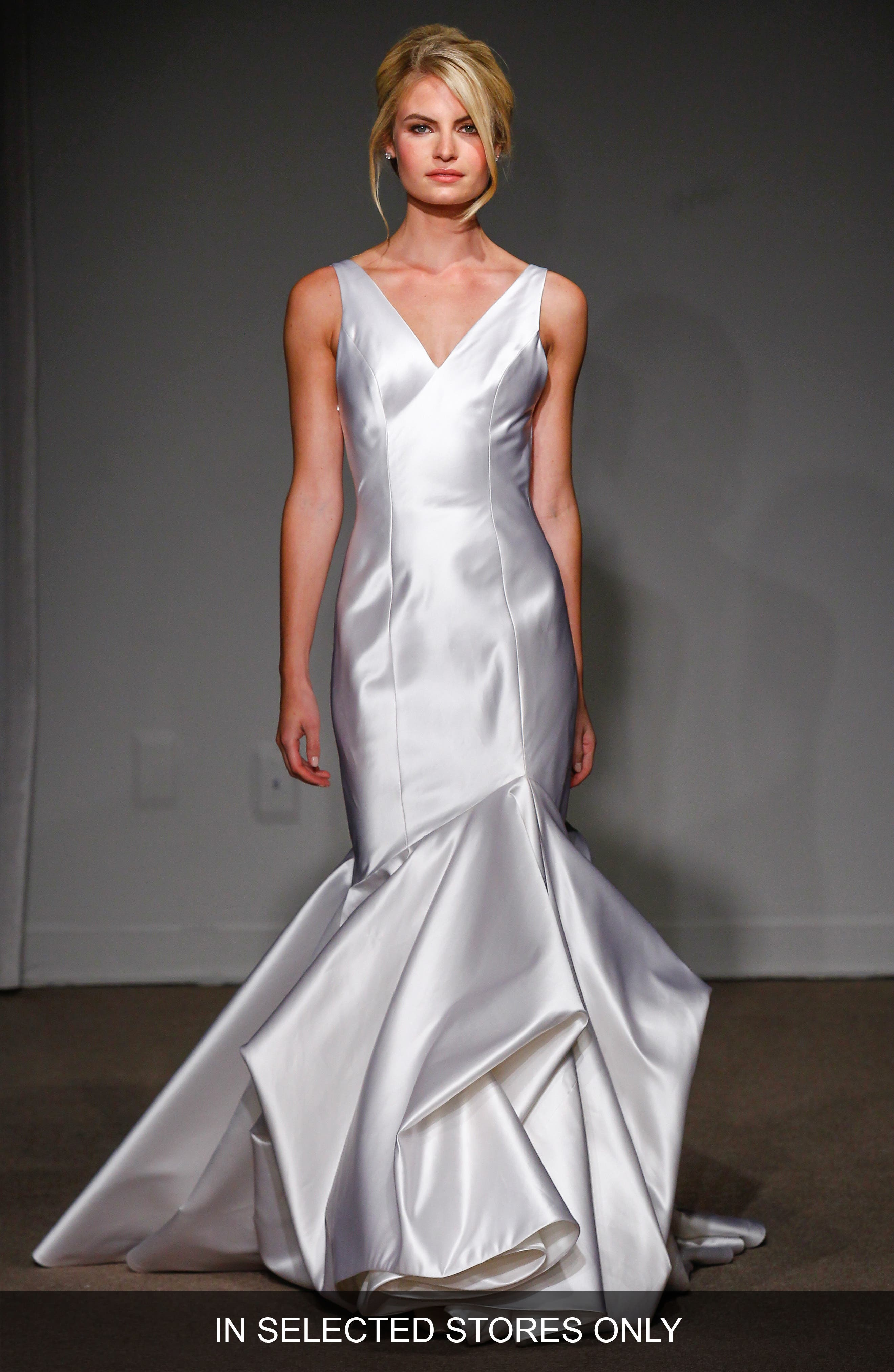 Anna Maier Couture 'Caterina' Duchess Satin V-Neck Trumpet Gown (In Stores Only)