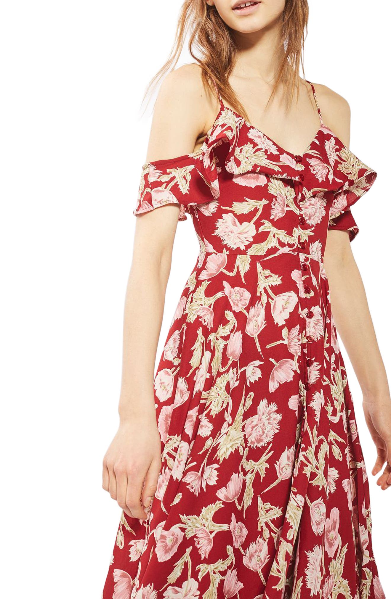 Topshop Floral Off the Shoulder Maxi Dress (Regular & Petite)