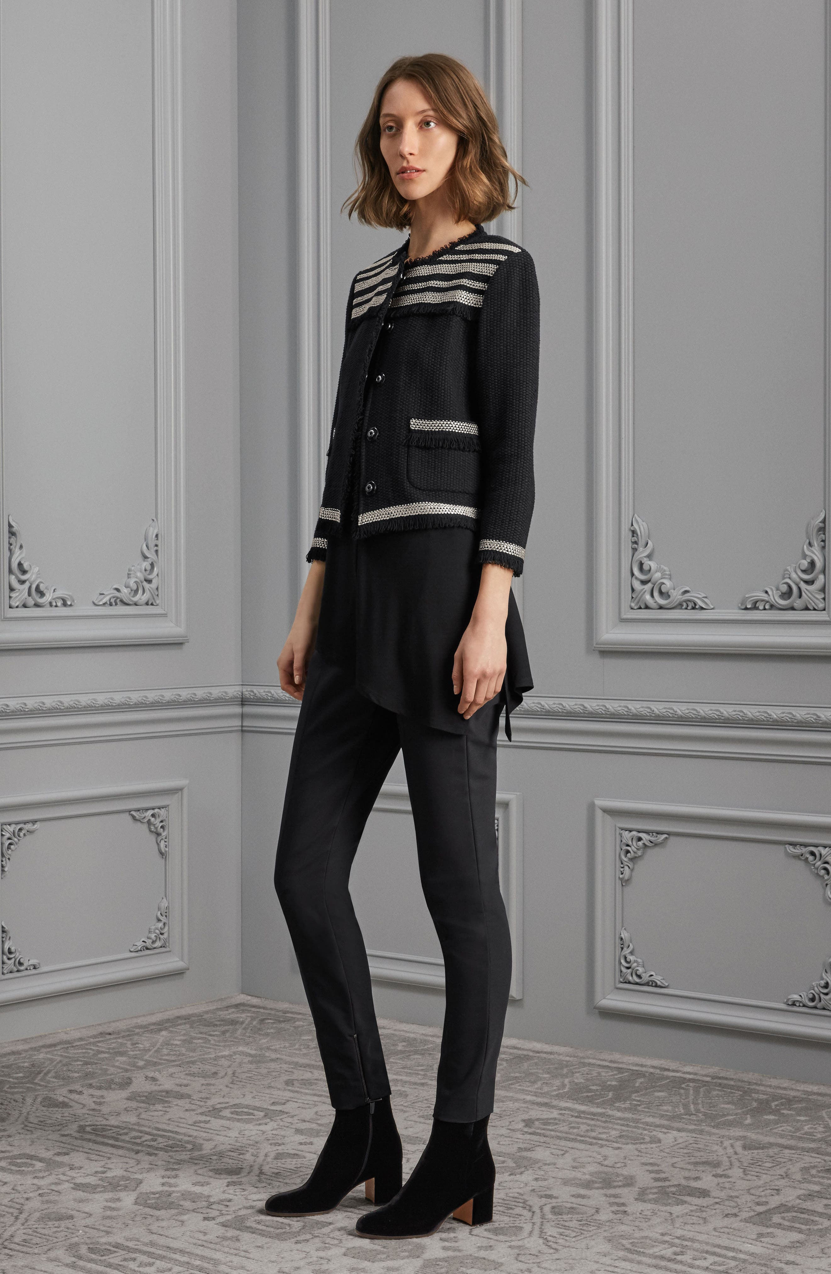St. John Collection Jacket, Top & Leggings Outfit with Accessories