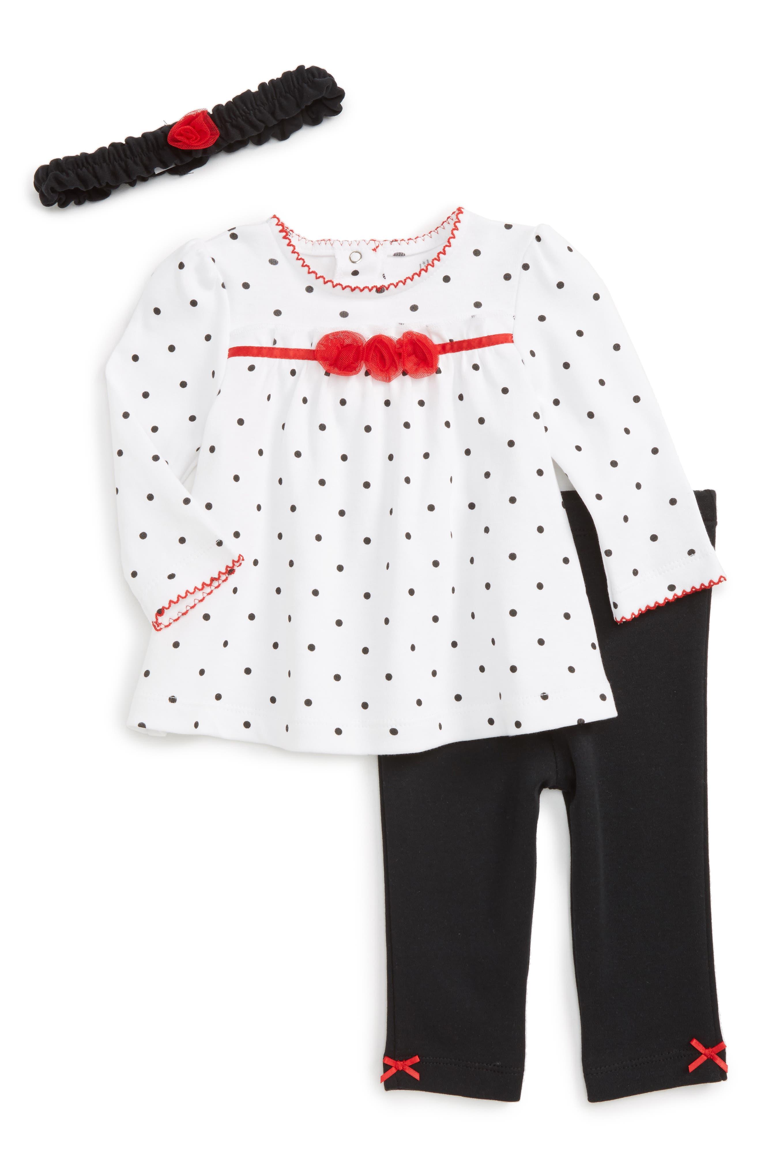 Little Me Polka Dot Tunic, Pants & Headband Set (Baby Girls)