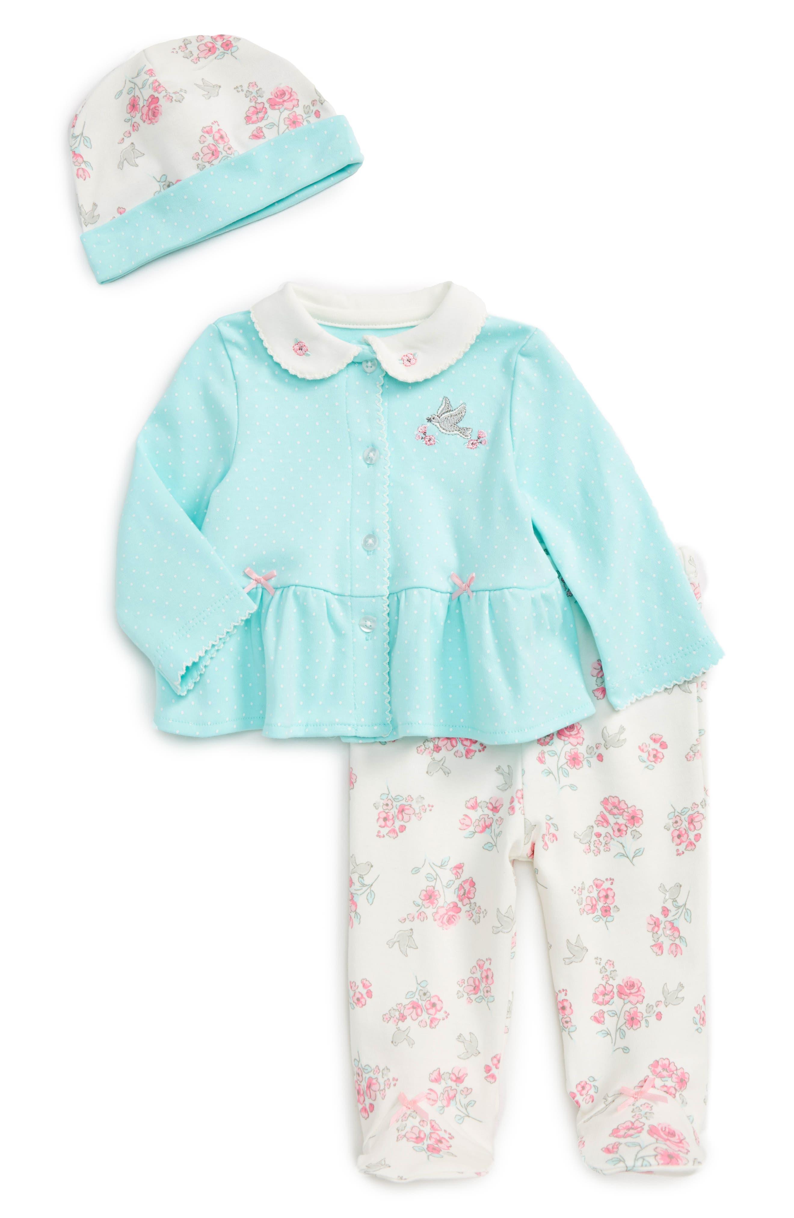 Little Me Floral Bird Cardigan, Pants & Hat Set (Baby Girls)