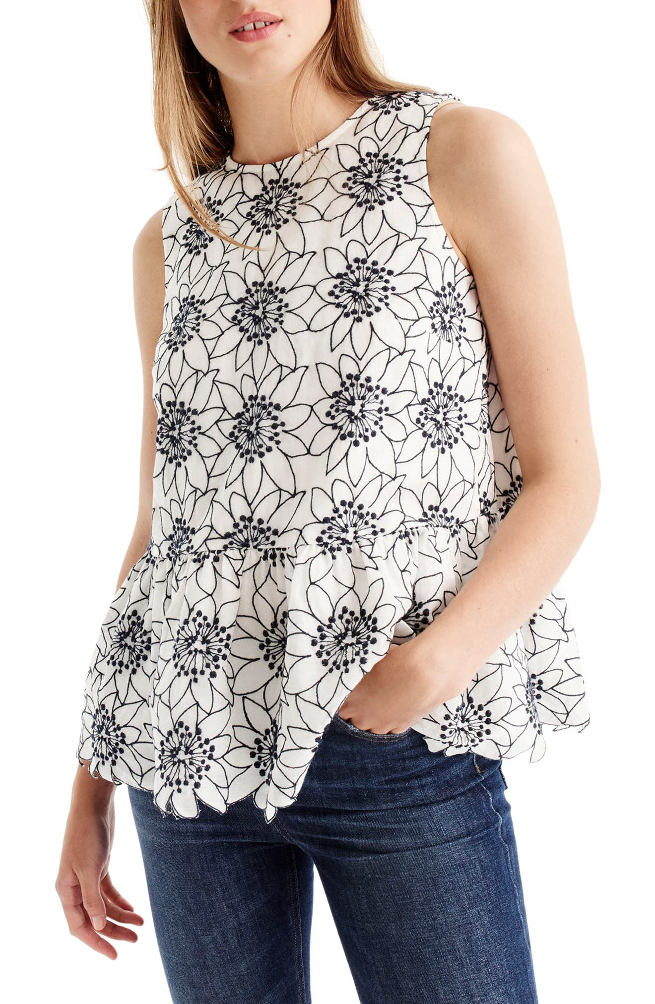 J.Crew Embroidered Floral Top (Regular & Petite)