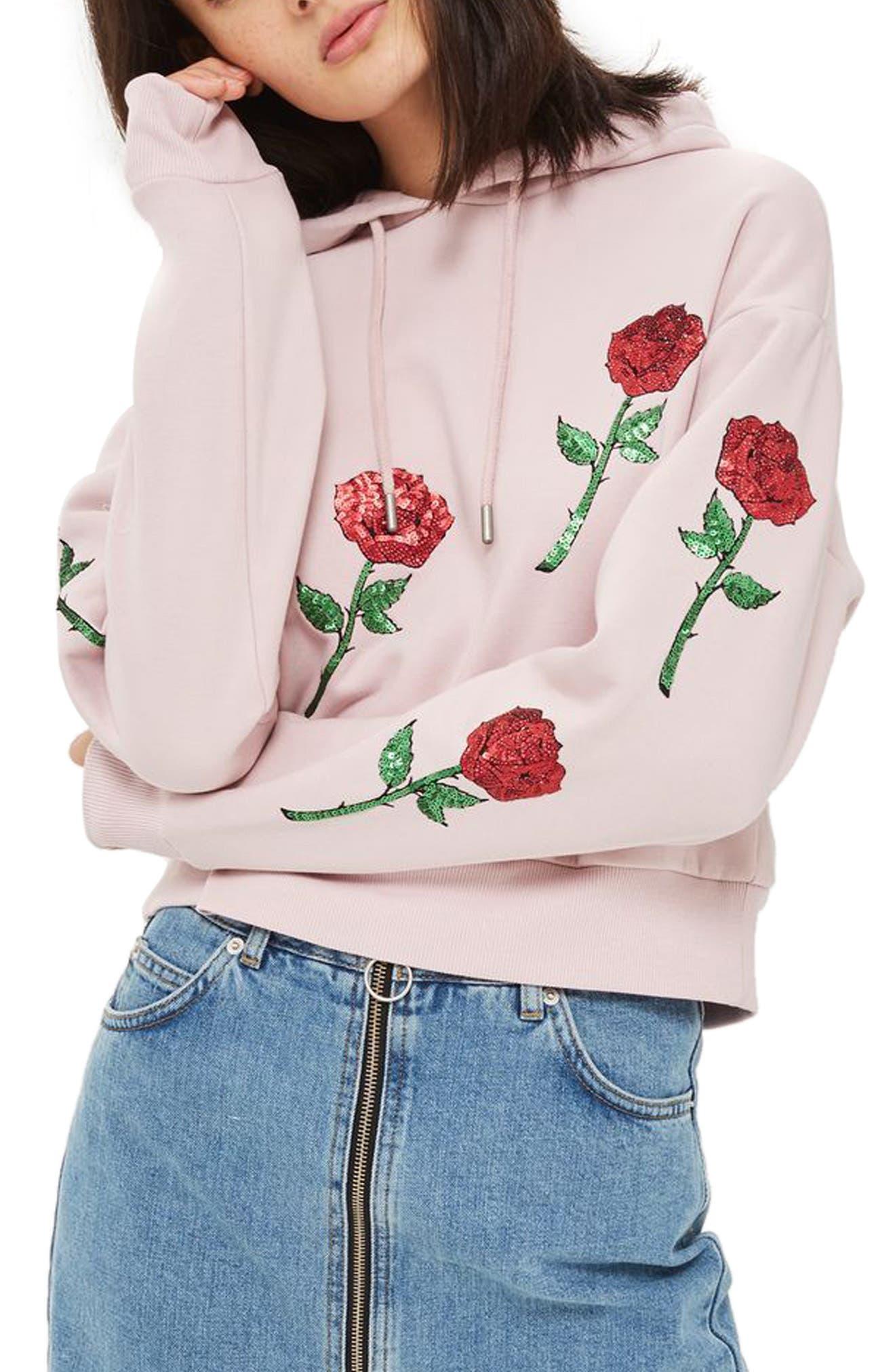 Topshop Sequin Rose Appliqué Hoodie