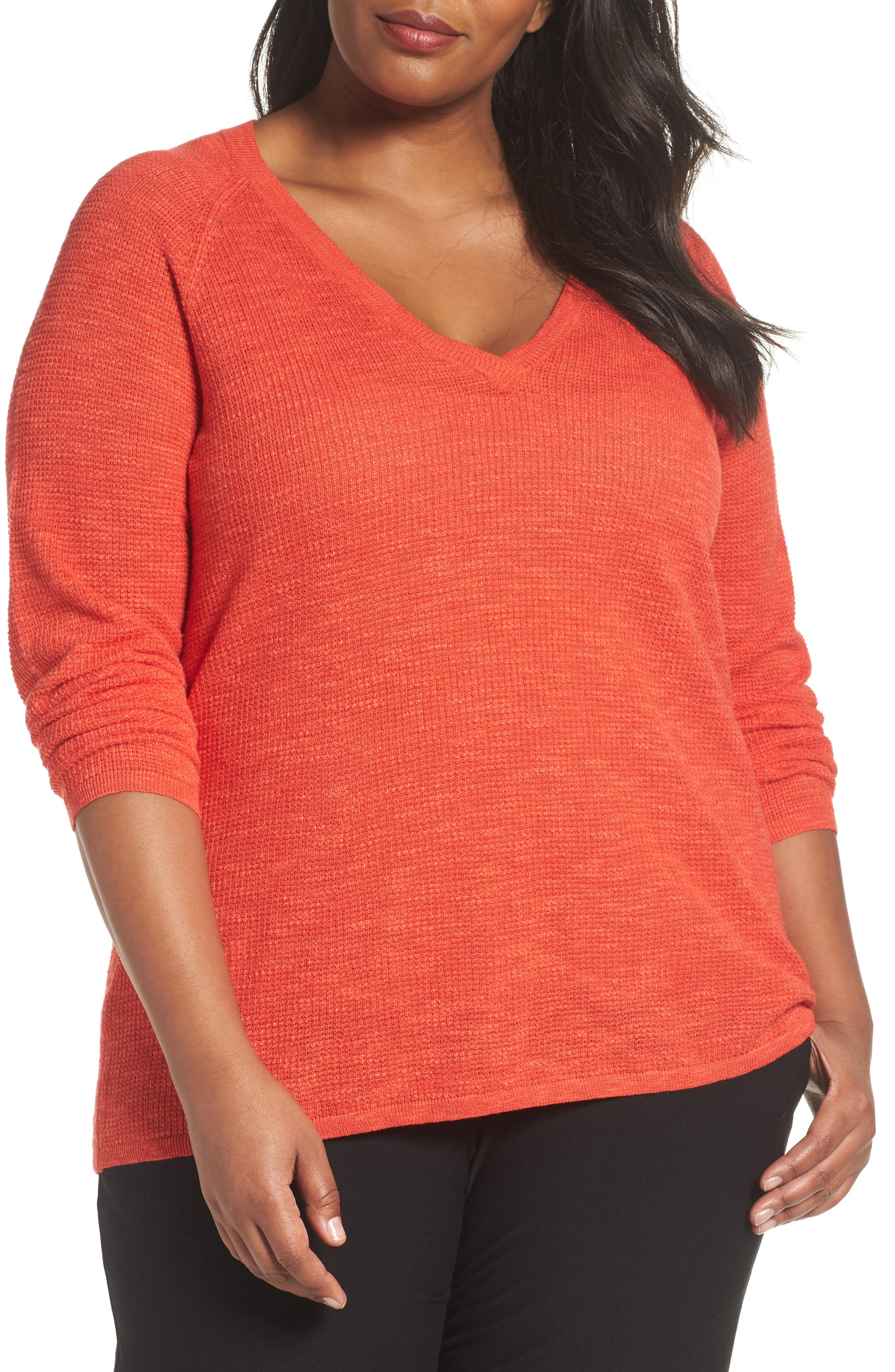 Eileen Fisher Organic Linen & Cotton Top (Plus Size)