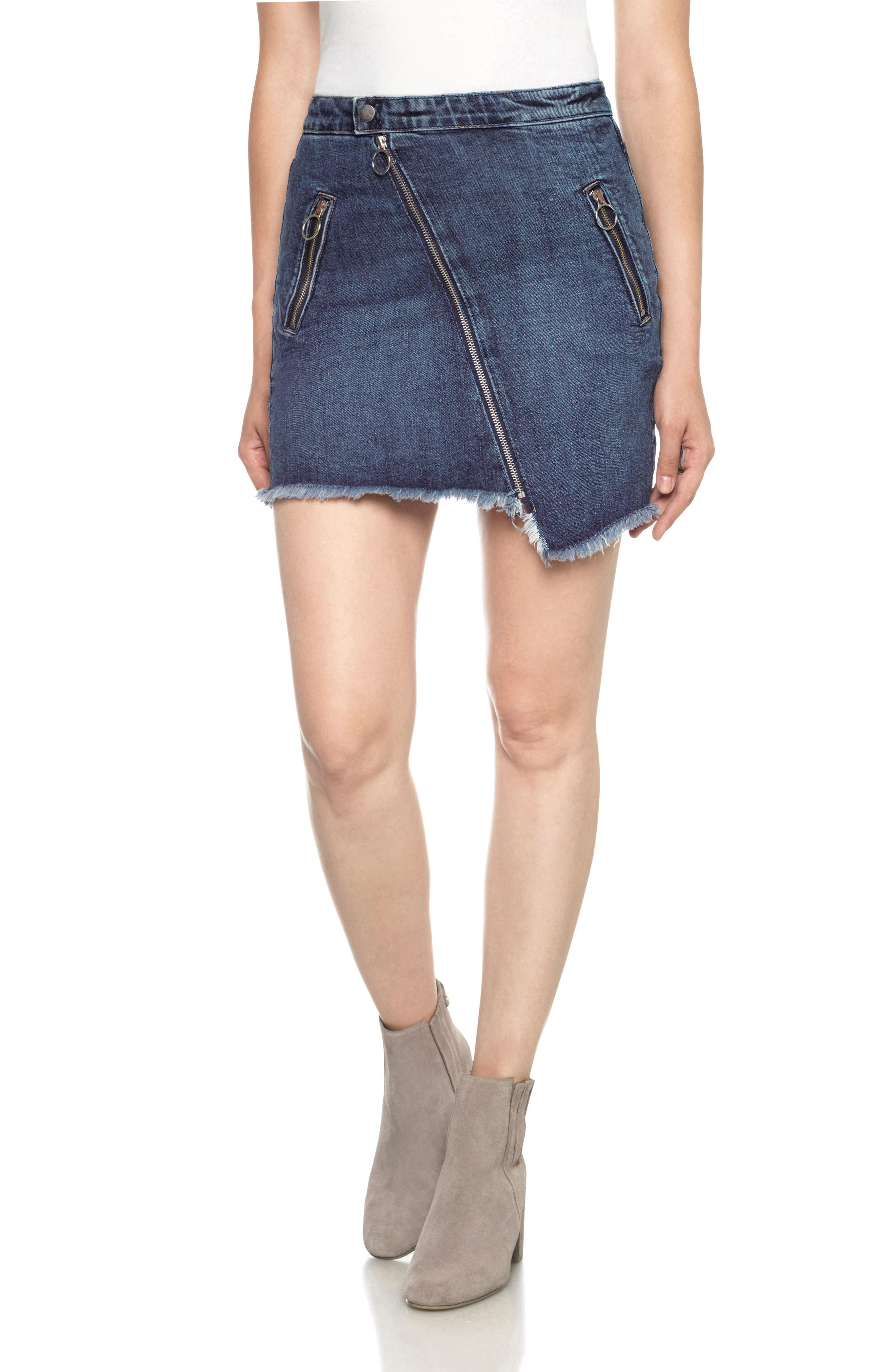 Joe's Asymmetrical Zip Denim Skirt