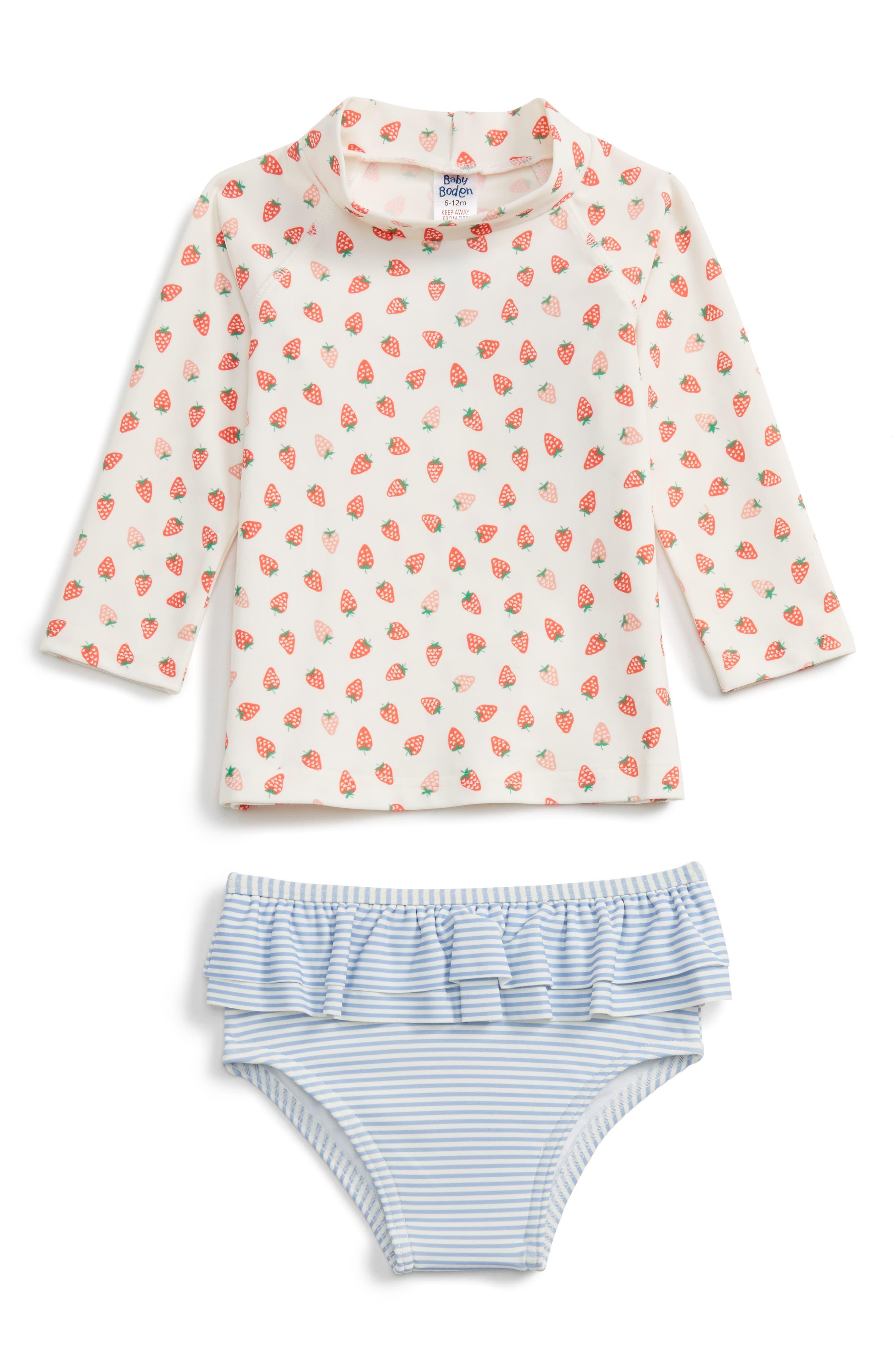 Mini Boden Strawberry Print Two-Piece Rashguard Swimsuit (Baby Girls & Toddler Girls)