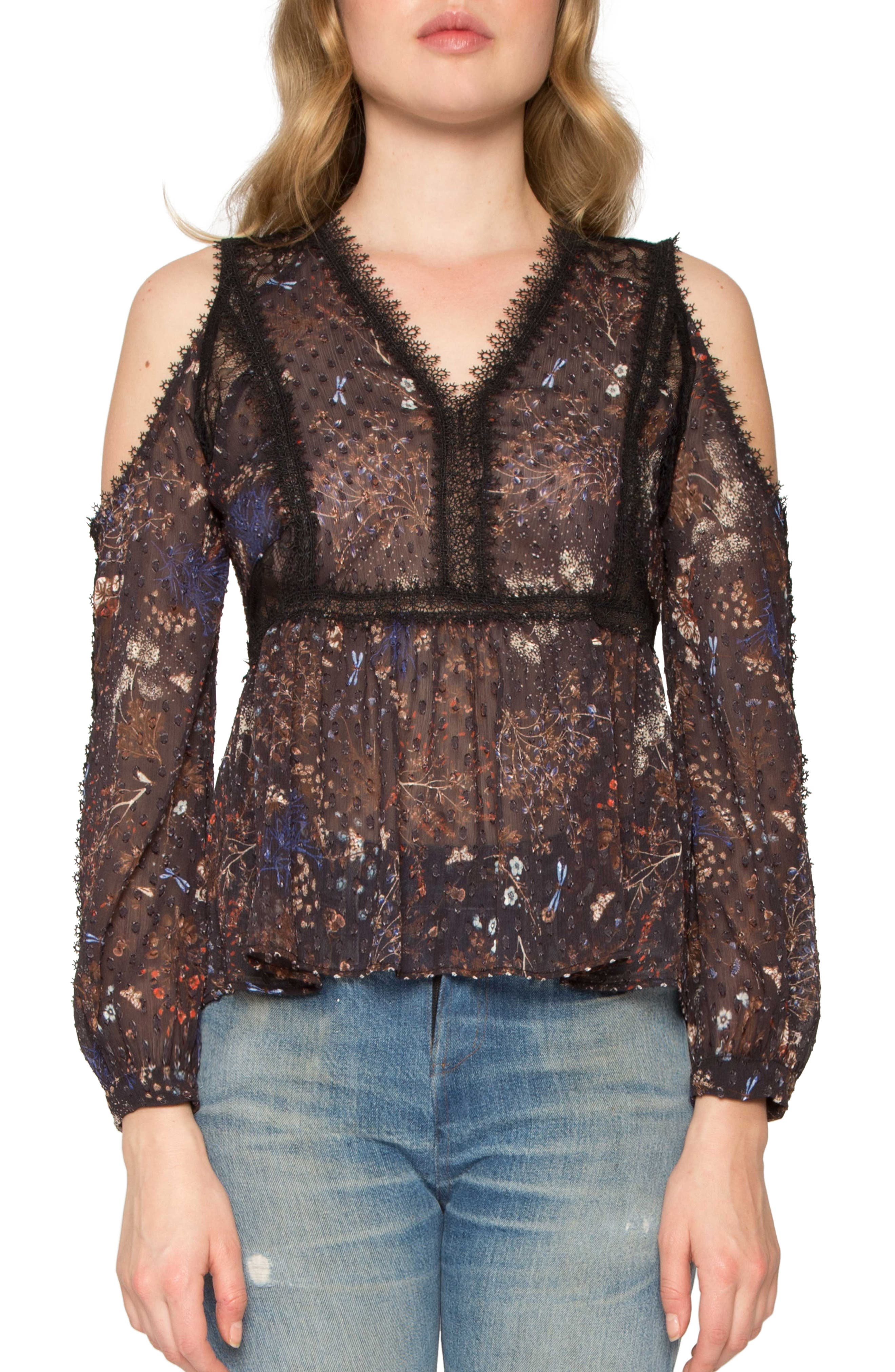 Willow & Clay Print Cold Shoulder Top