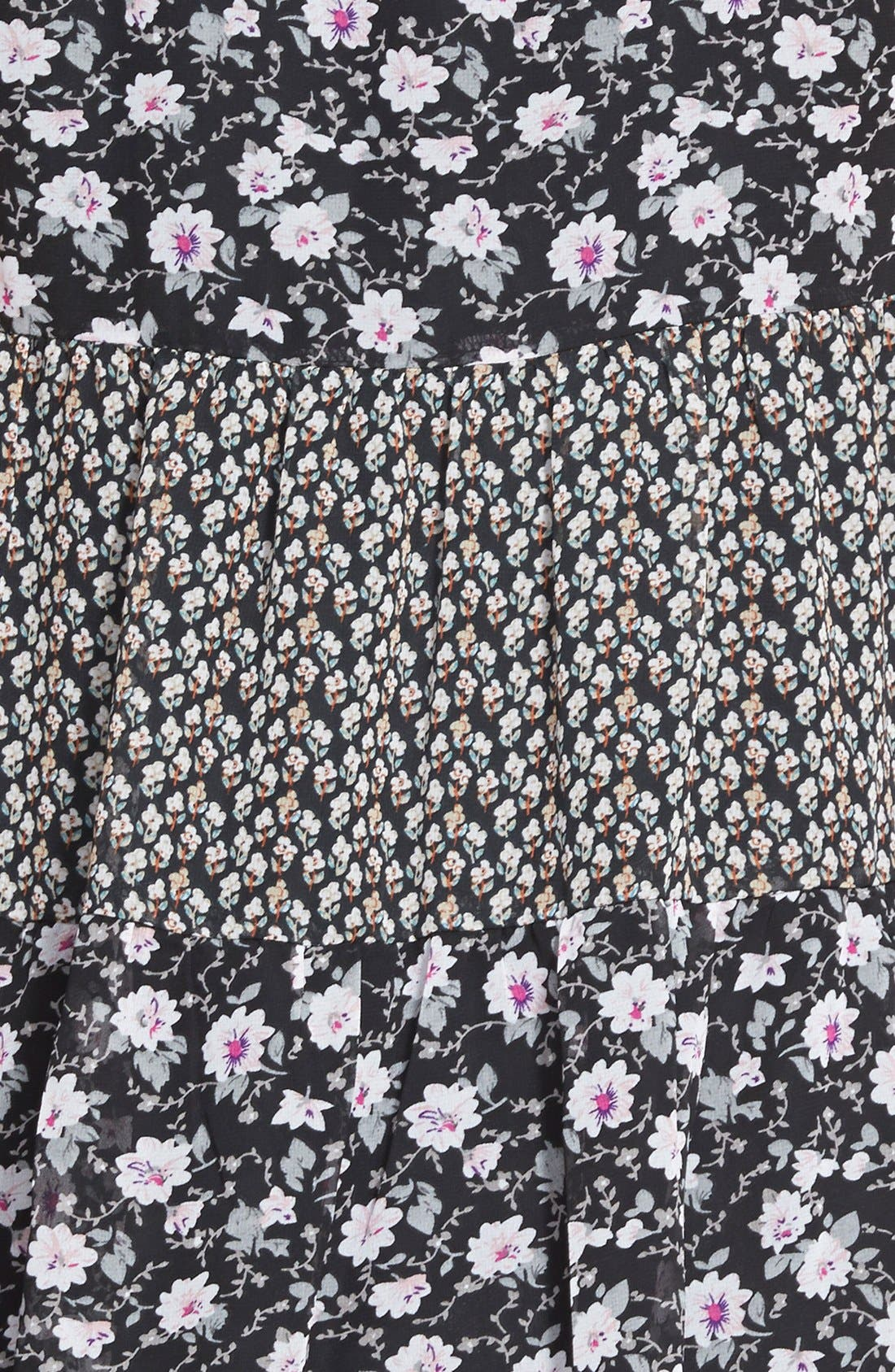 Alternate Image 3  - Paper Crane Mixed Print Babydoll Dress (Juniors)
