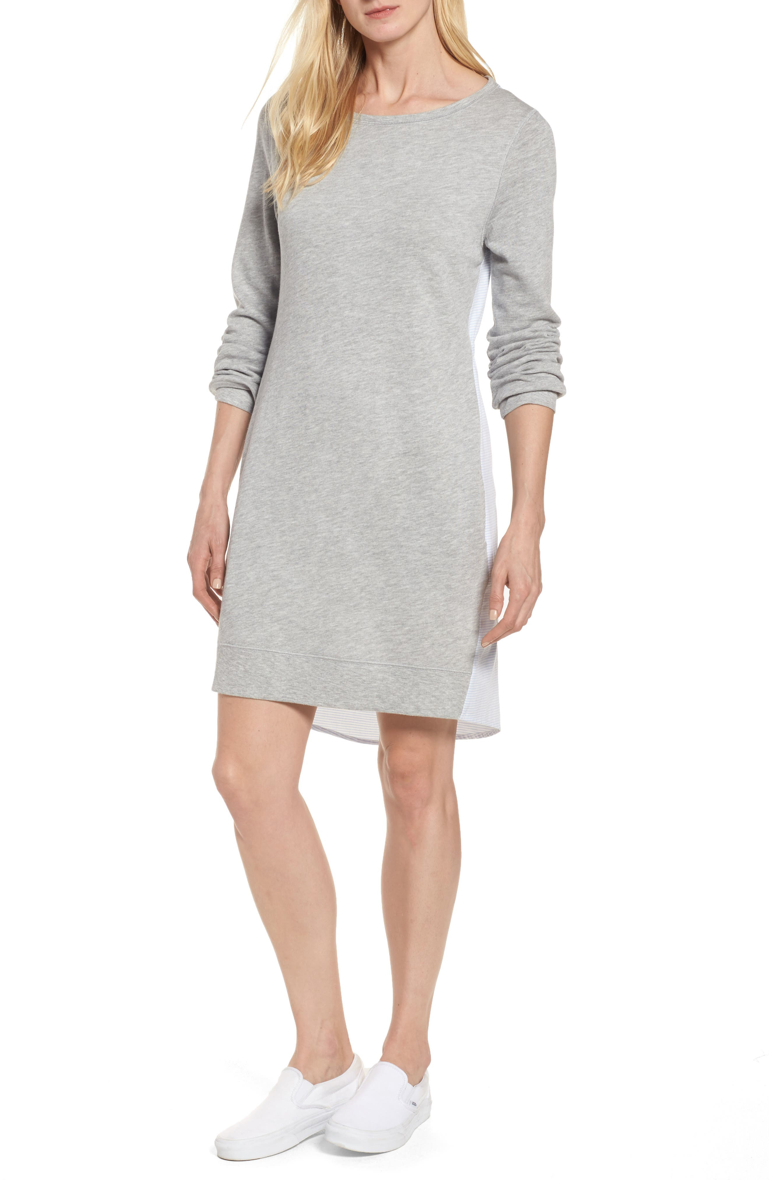 Caslon® Woven Back Sweatshirt Dress (Regular & Petite)