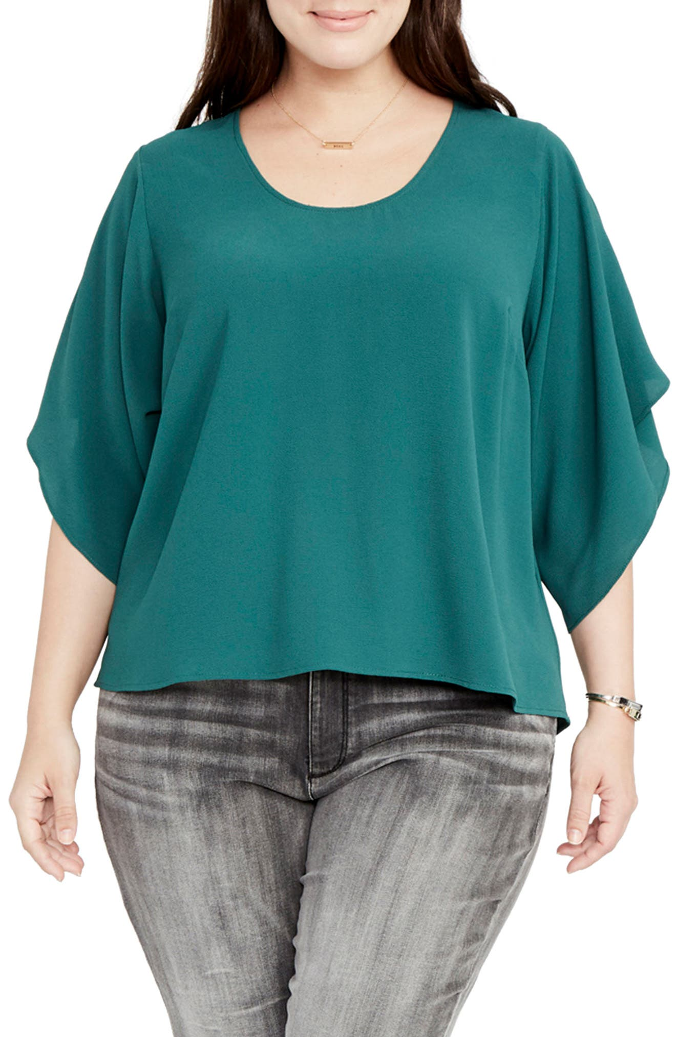 RACHEL Rachel Roy Flutter Sleeve Top (Plus Size)