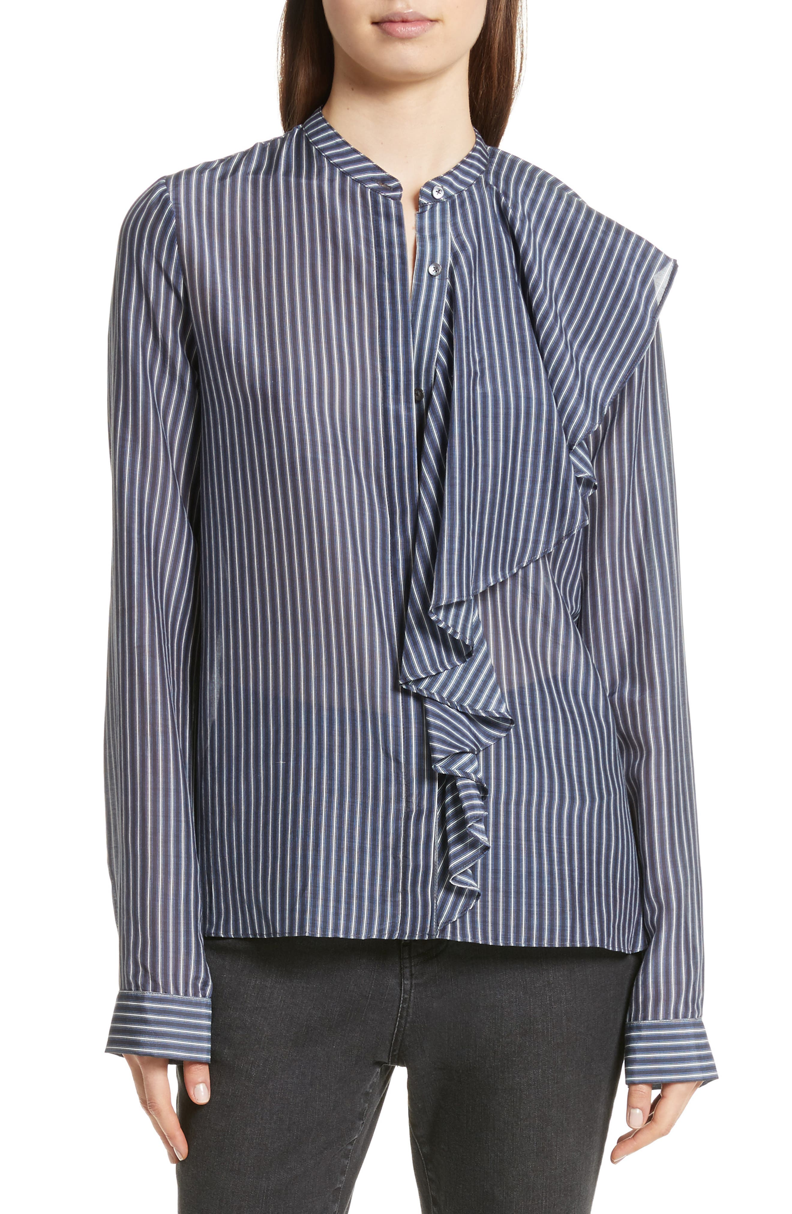 Robert Rodriguez Vertical Stripe Ruffle Shirt