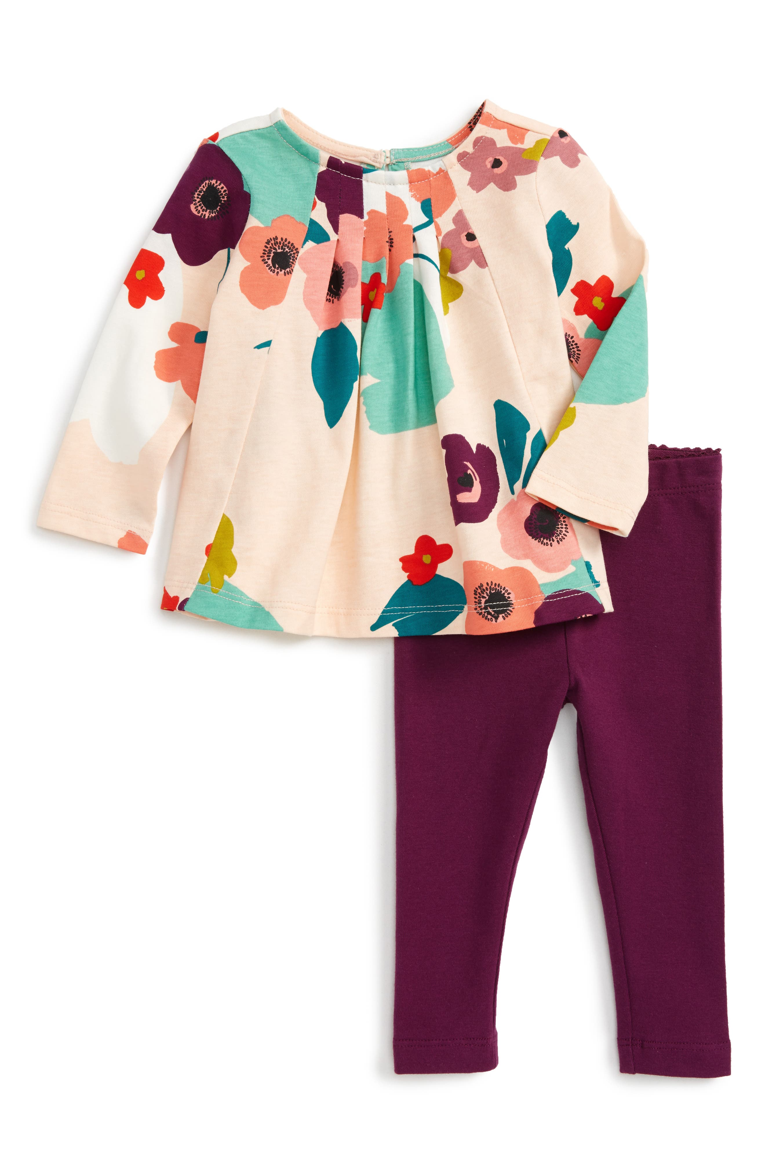 Tea Collection Claire Floral Trapeze Top & Leggings Set (Baby Girls)