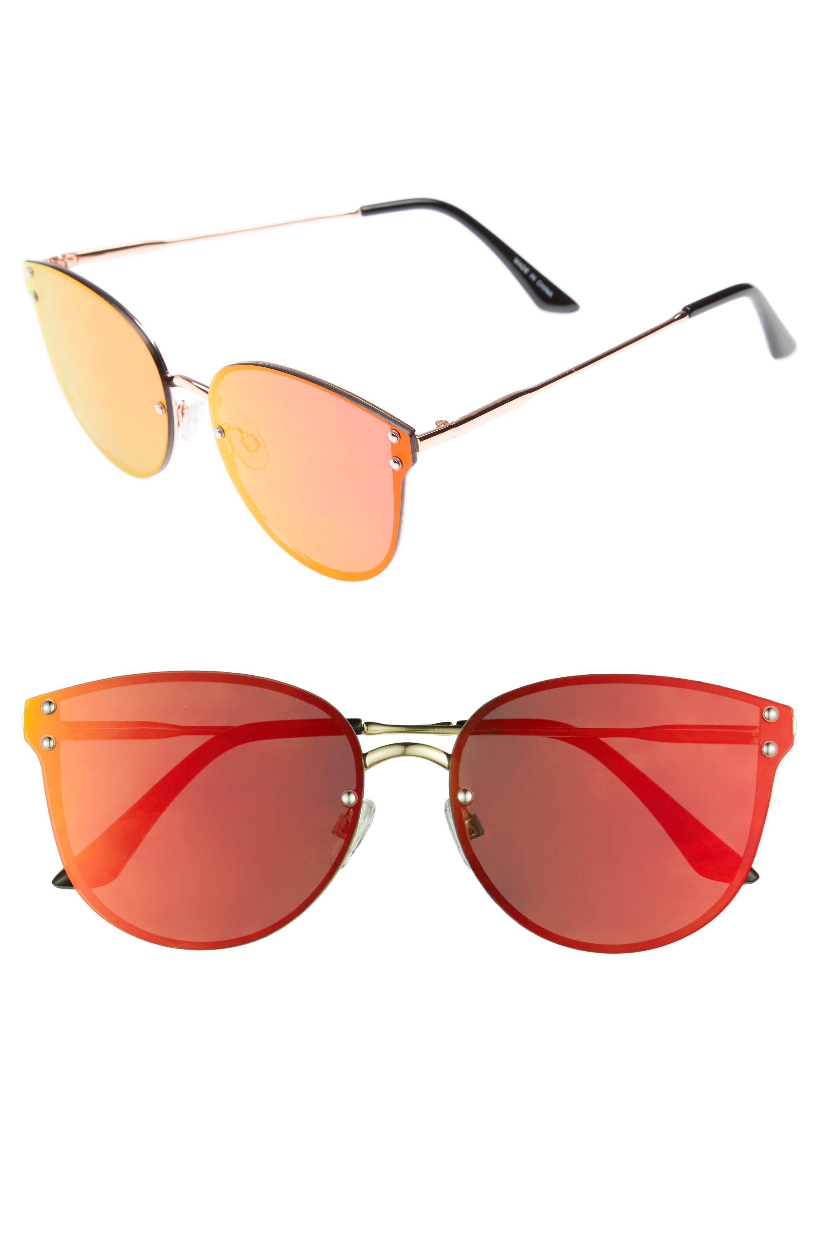 Leith 60mm Mirror Lens Cat Eye Sunglasses