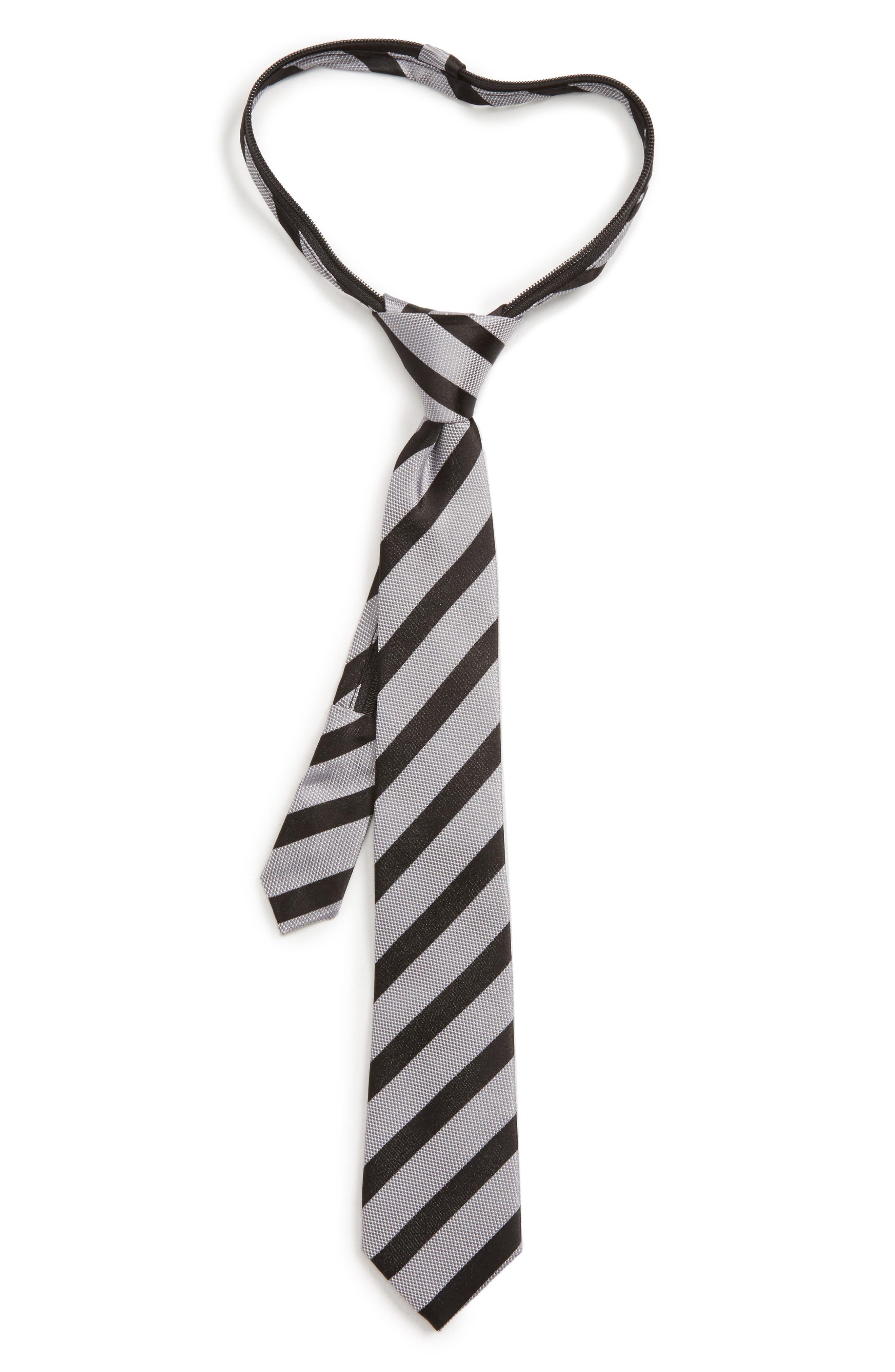Nordstrom Stripe Silk Zip Tie (Boys)