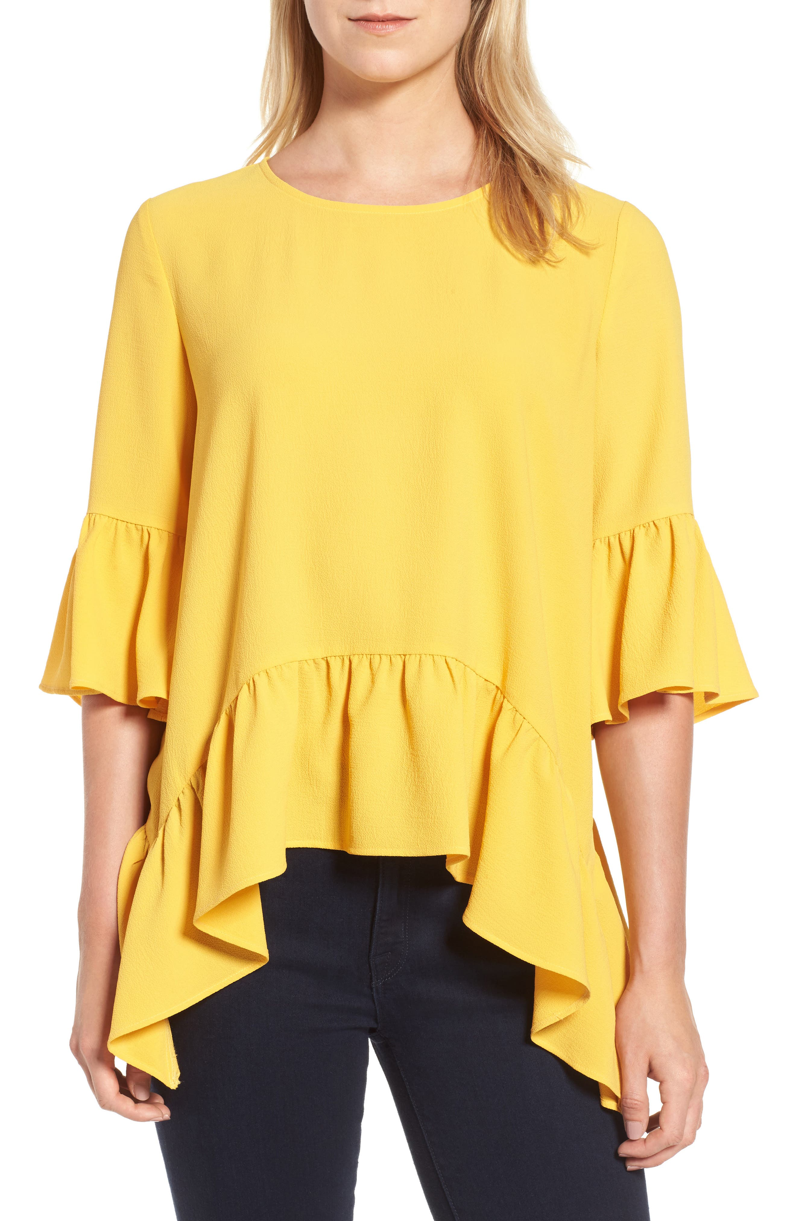Main Image - Gibson Ruffled Handkerchief Hem Top (Regular & Petite)