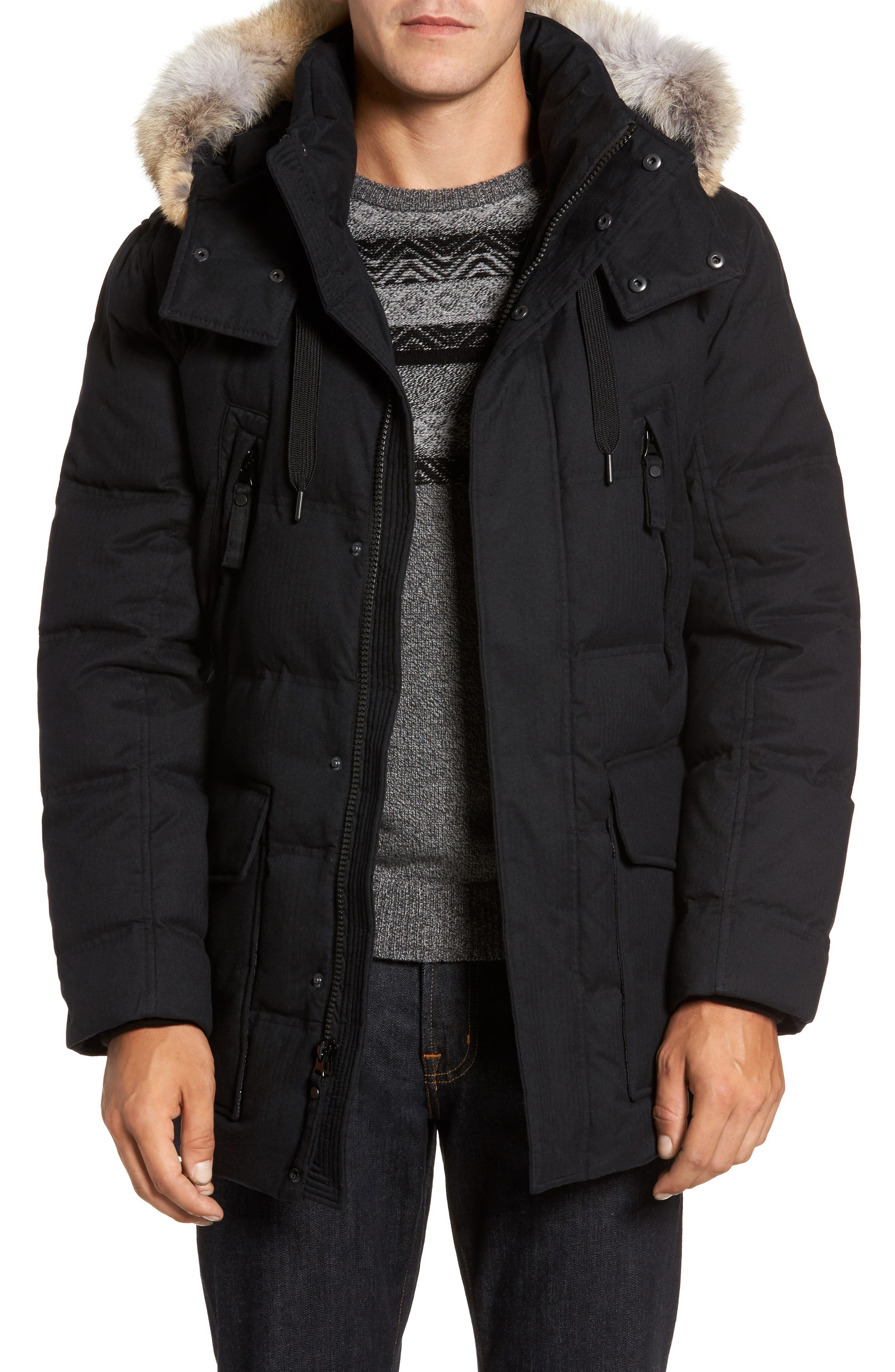 Andrew Marc Tech Herringbone Down Parka with Genuine Coyote Fur Trim