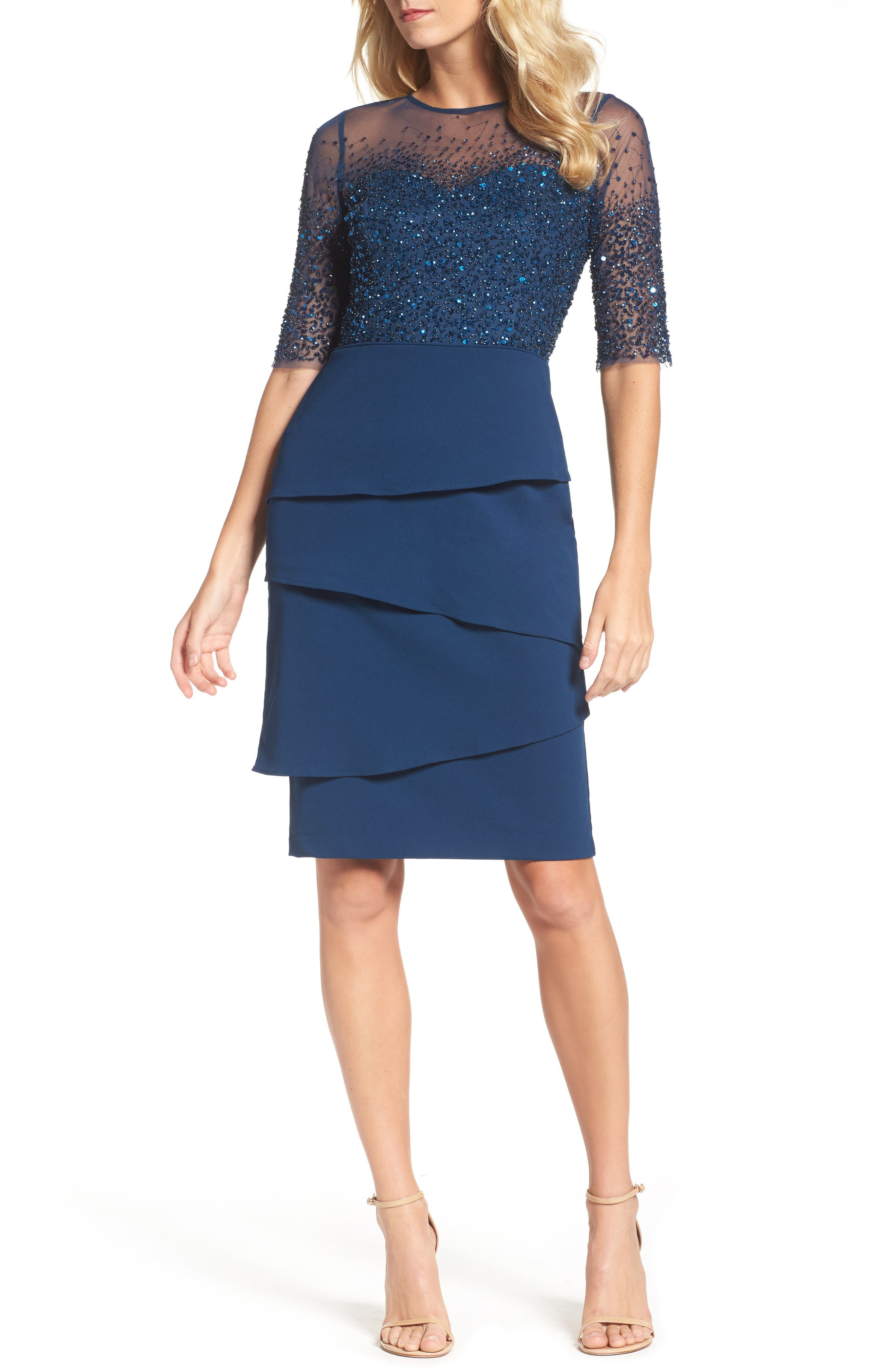 Adrianna Papell Beaded Illusion Tiered Sheath Dress