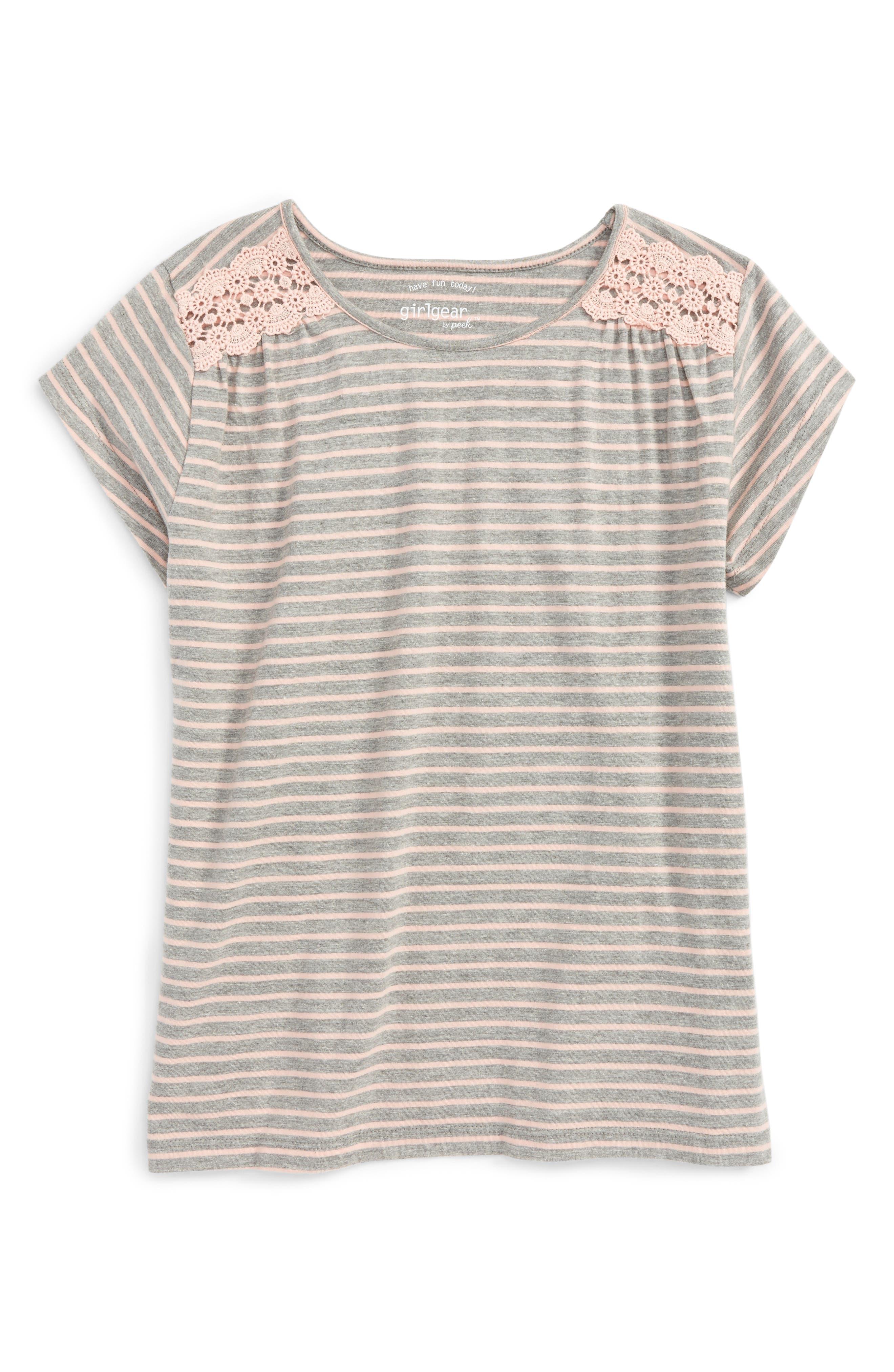 Peek Lisa Stripe Cotton Tee (Toddler Girls, Little Girls & Big Girls)