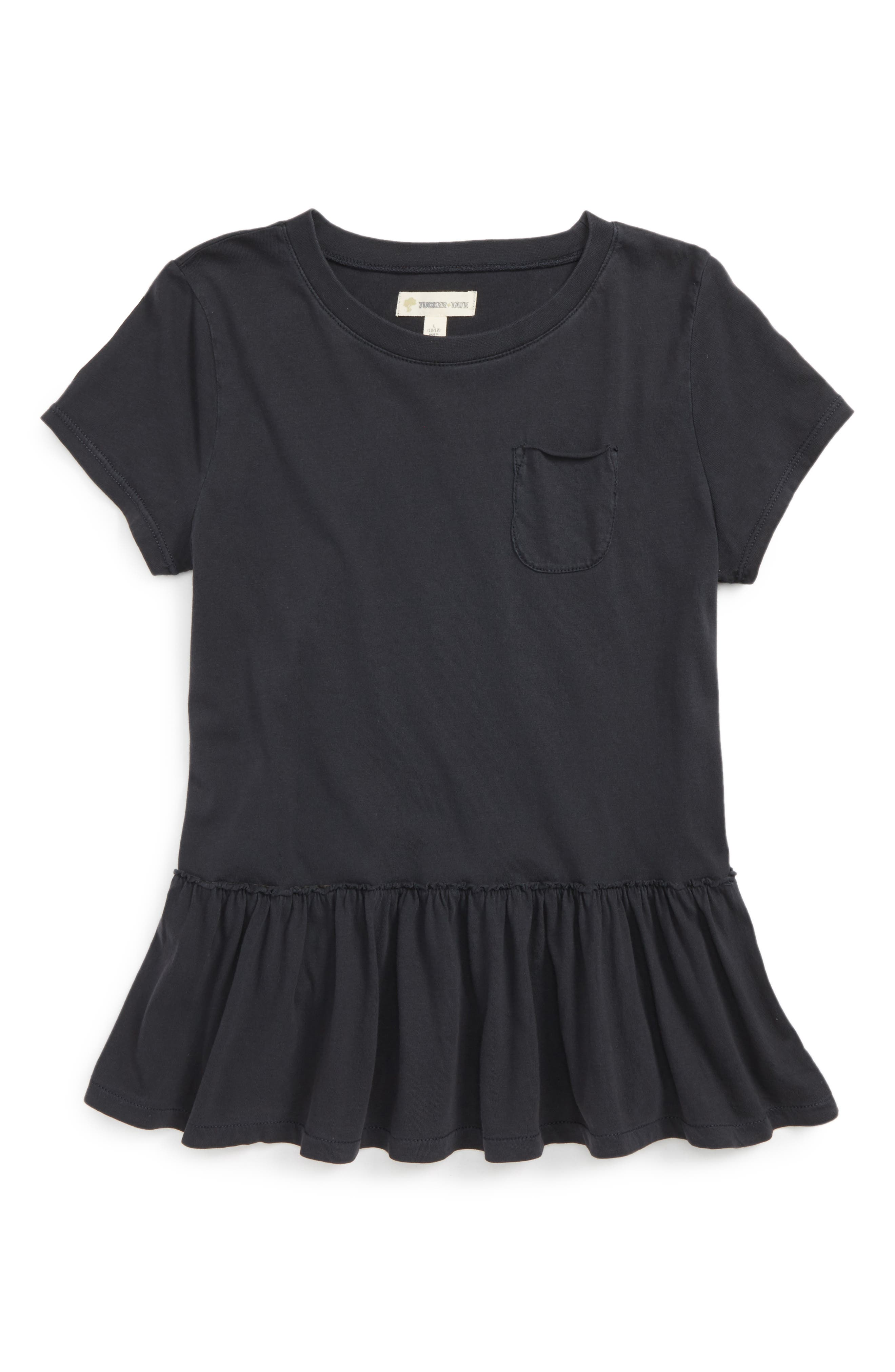 Tucker + Tate Raw Edge Peplum Tee (Big Girls)