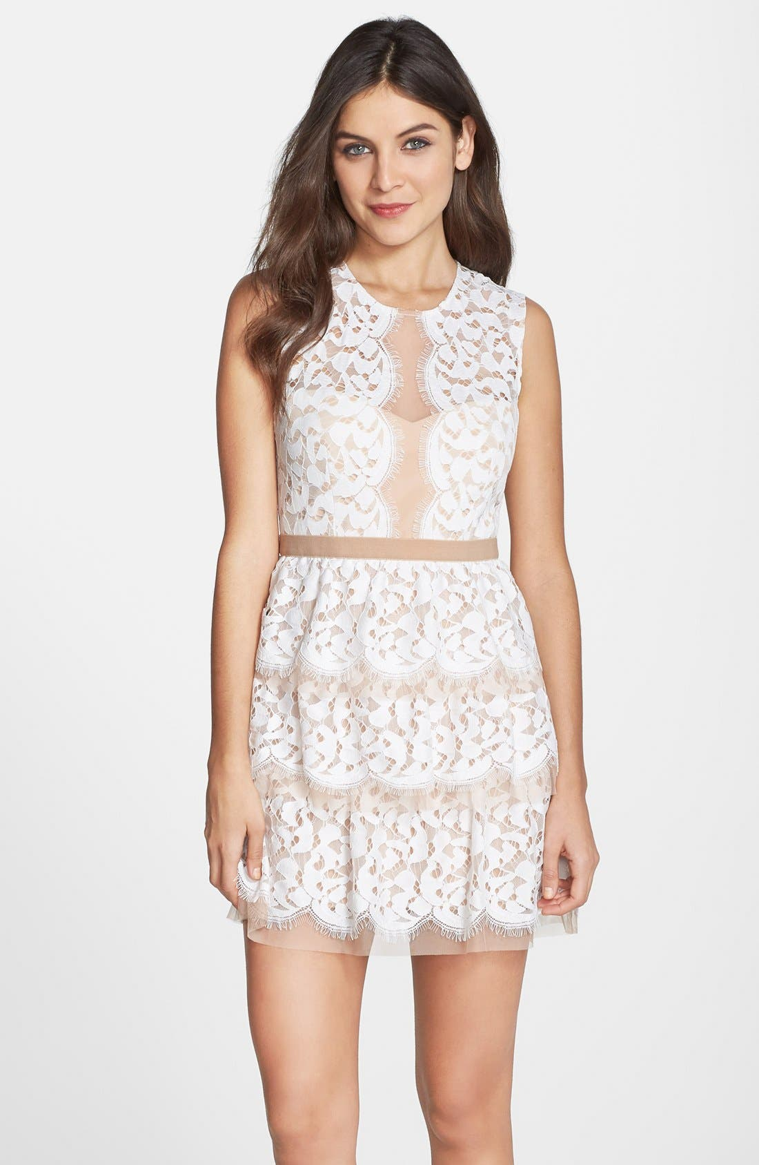 Alternate Image 1 Selected - BCBGMAXAZRIA 'Sophea' Tiered Lace Fit & Flare Dress