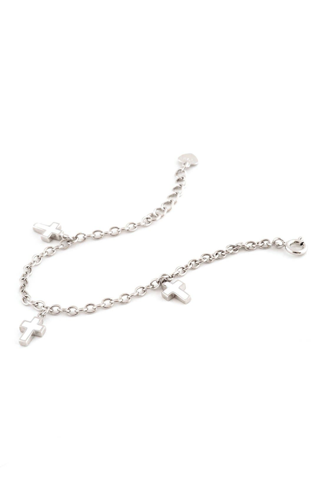 Speidel Enameled Cross Sterling Silver Charm Bracelet (Girls)