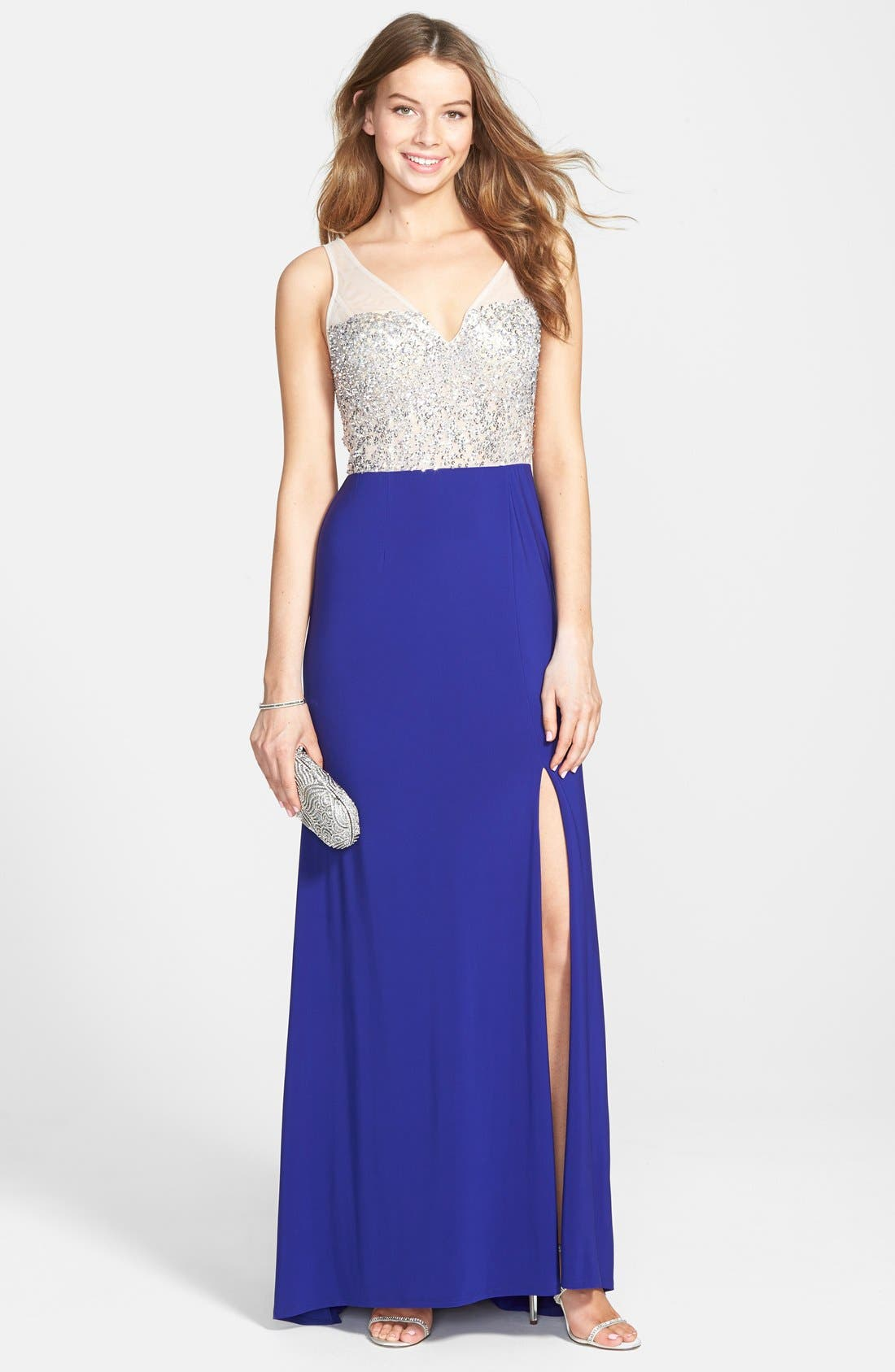 Main Image - Hailey by Adrianna Papell Beaded Open Back Jersey Gown