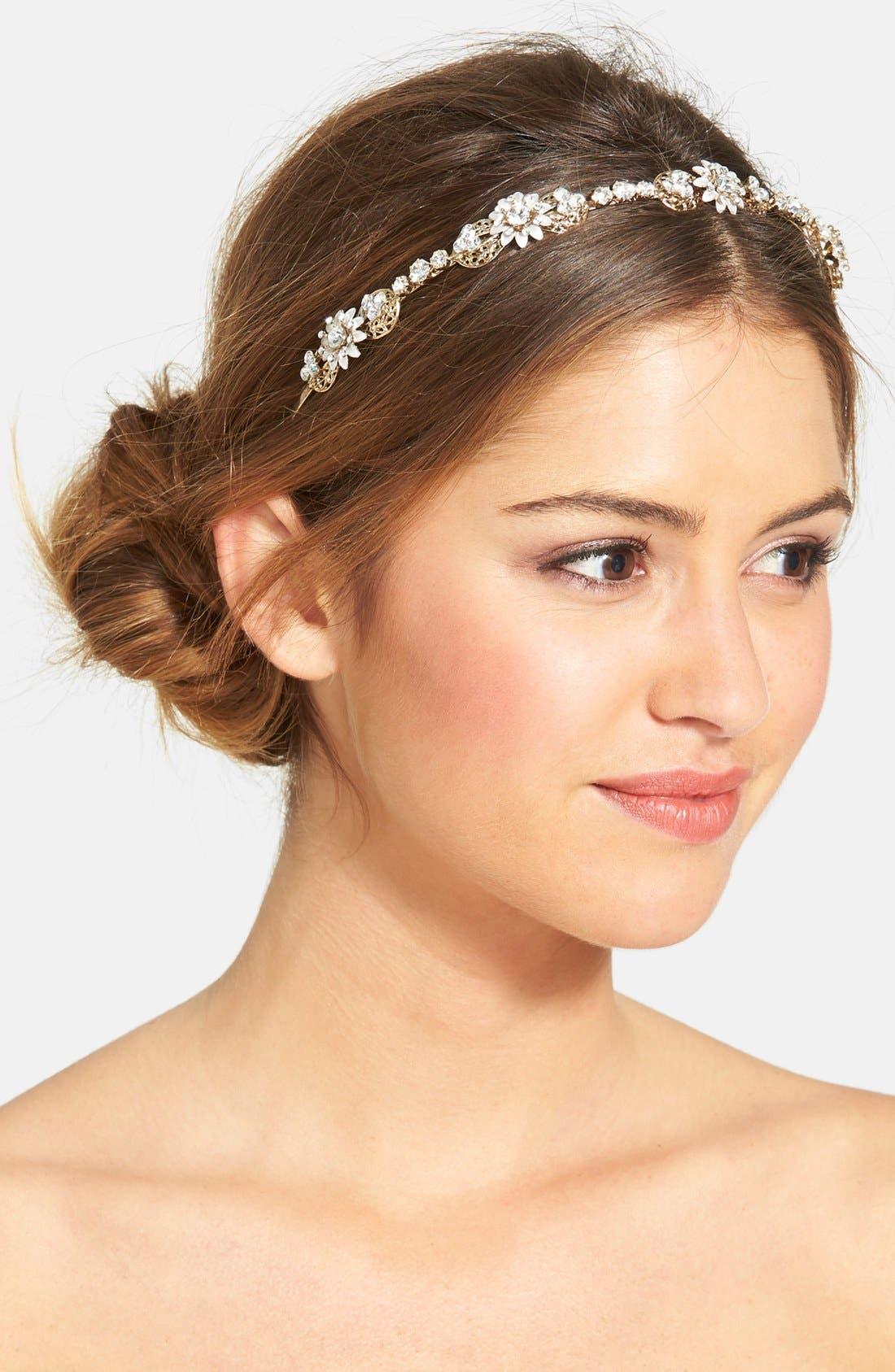 Main Image - Wedding Belles New York Crystal Floral Headband