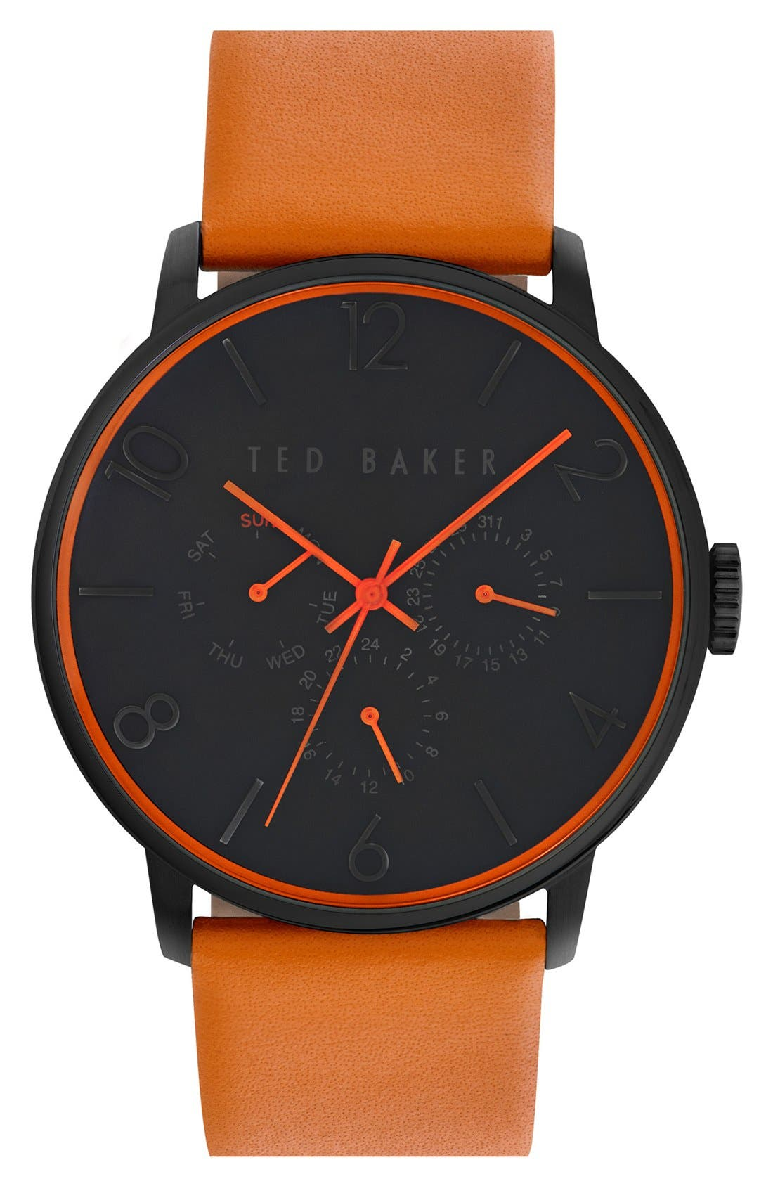 Alternate Image 1 Selected - Ted Baker London Multifunction Leather Strap Watch, 42mm