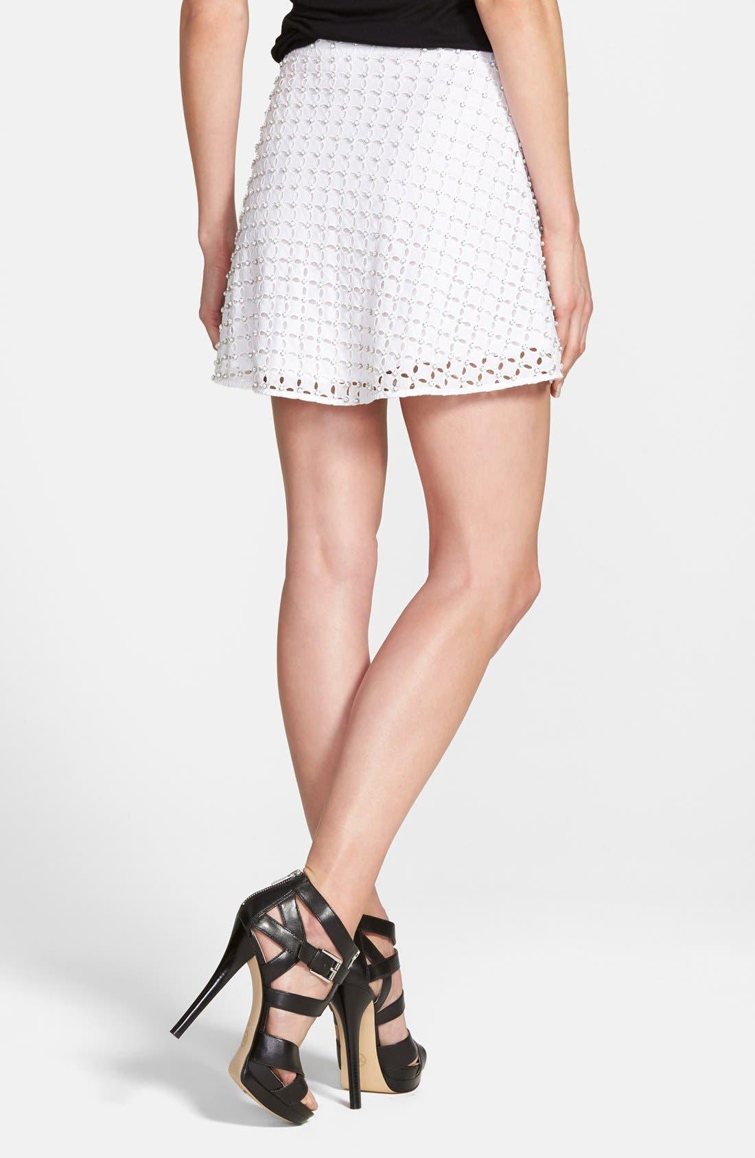 Alternate Image 2  - MICHAEL Michael Kors Rhinestone Eyelet Miniskirt