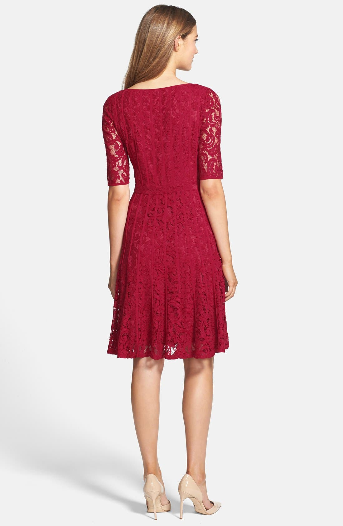 Alternate Image 2  - Adrianna Papell Lace Fit & Flare Dress (Petite)