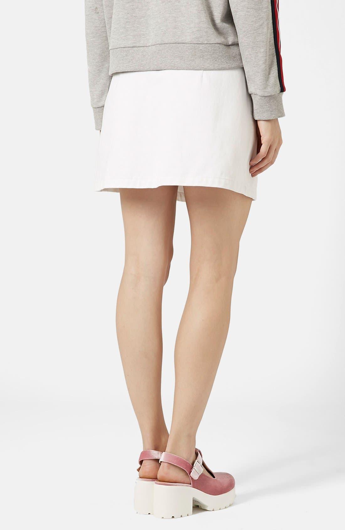 Alternate Image 2  - Topshop 'Popper' Denim Miniskirt (Brit Pop-In)