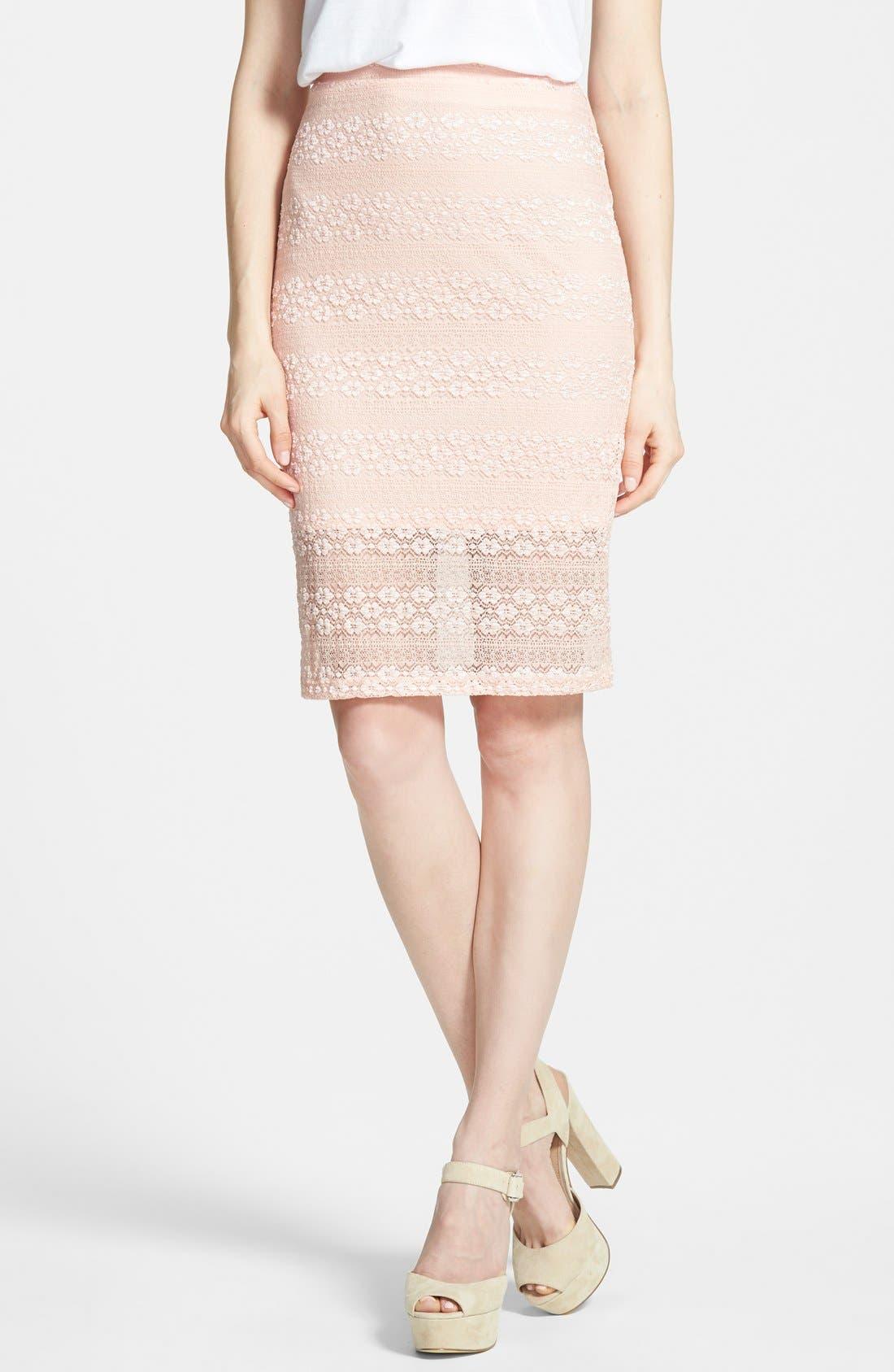 Main Image - Painted Threads Lace Midi Skirt (Juniors)