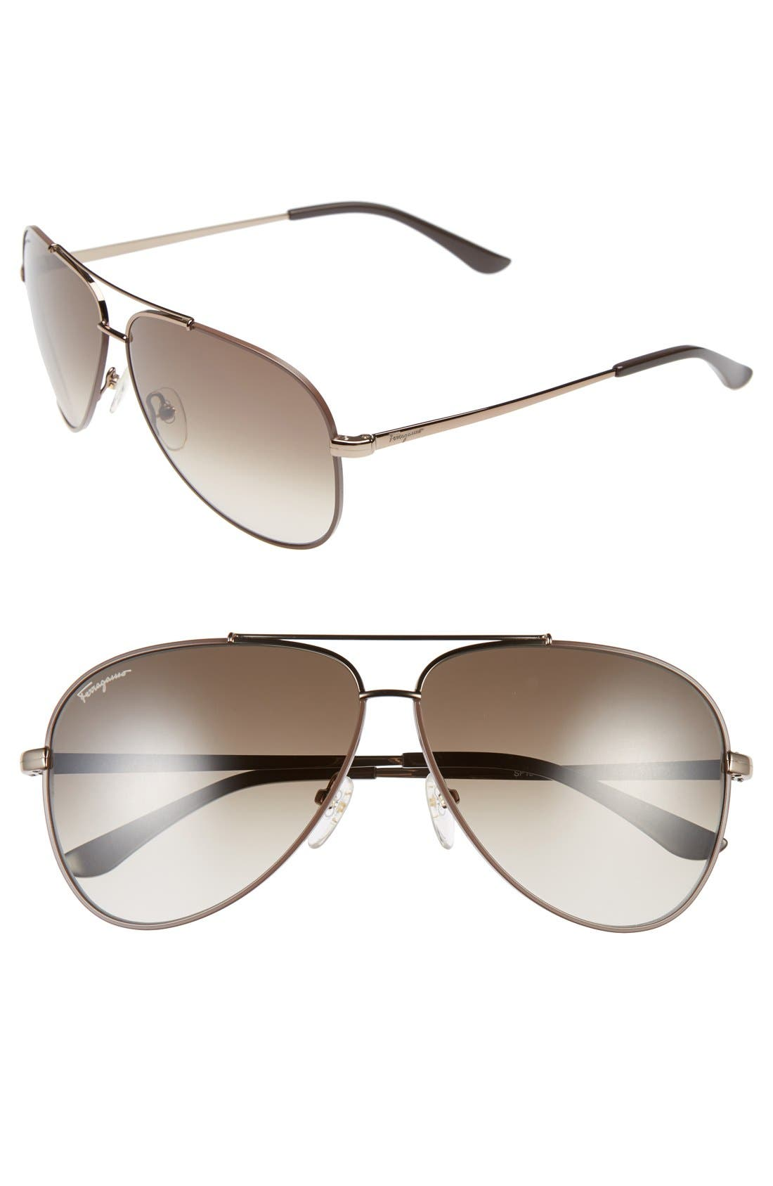 Main Image - Salvatore Ferragamo 60mm Aviator Sunglasses