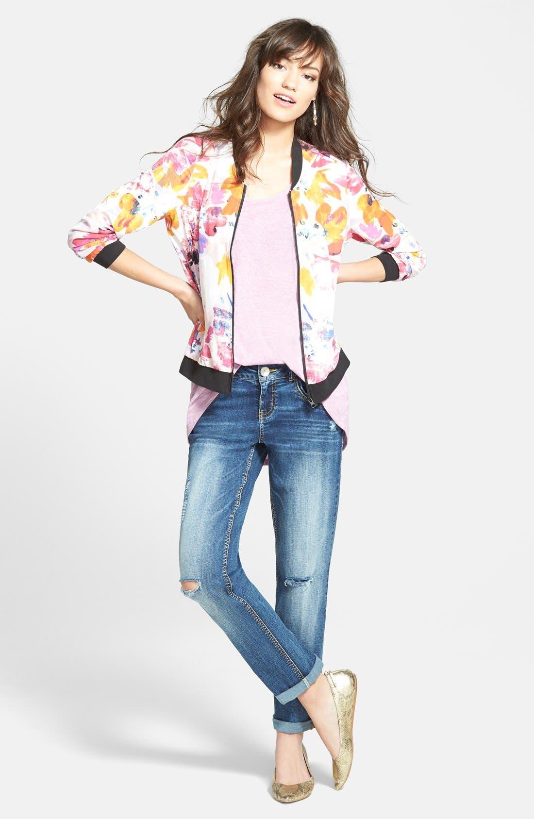 Alternate Image 5  - NYDJ Floral Print Bomber Jacket