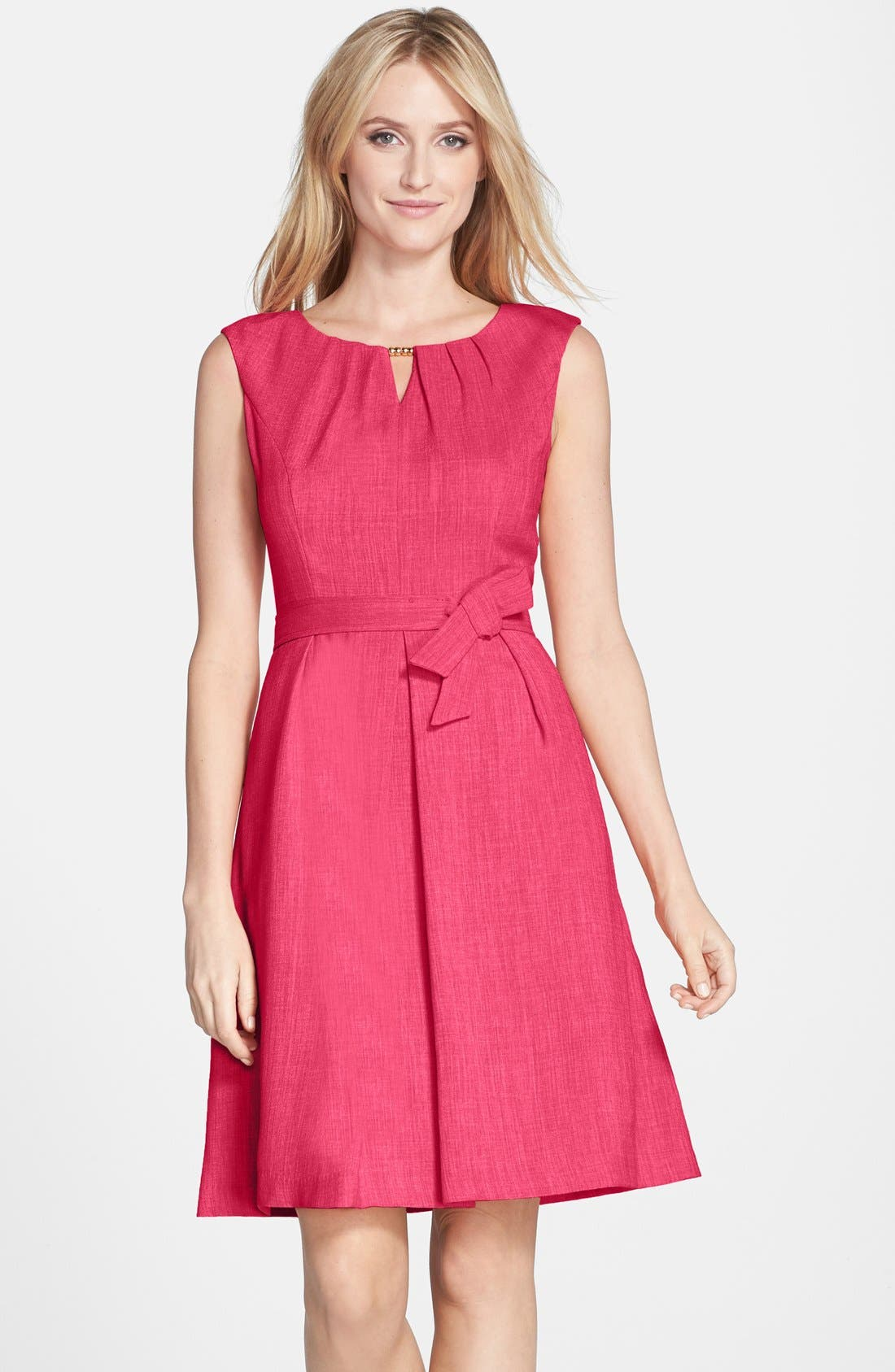 Alternate Image 1 Selected - Ellen Tracy Beaded Woven Fit & Flare Dress