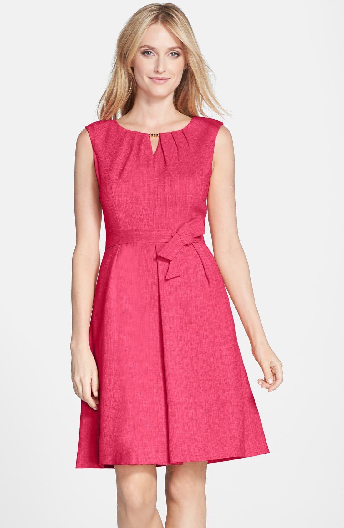 Main Image - Ellen Tracy Beaded Woven Fit & Flare Dress