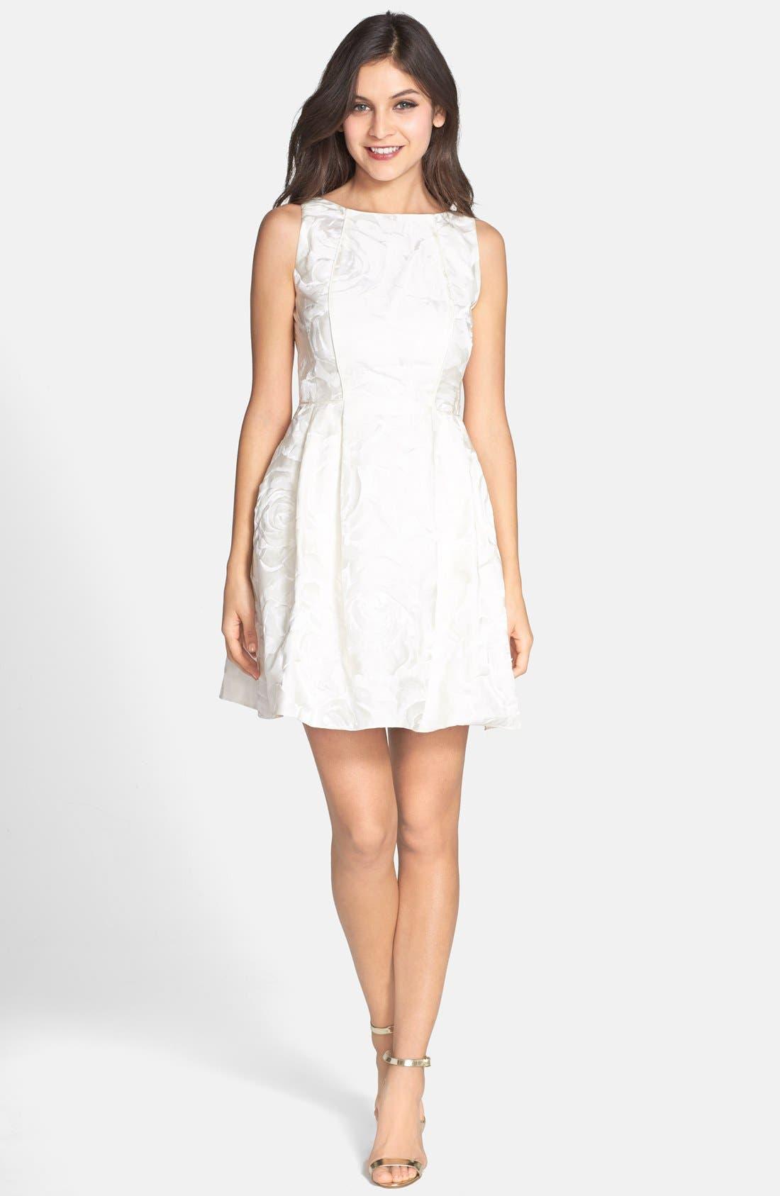 Alternate Image 3  - Aidan by Aidan Mattox Jacquard Sleeveless Fit & Flare Dress